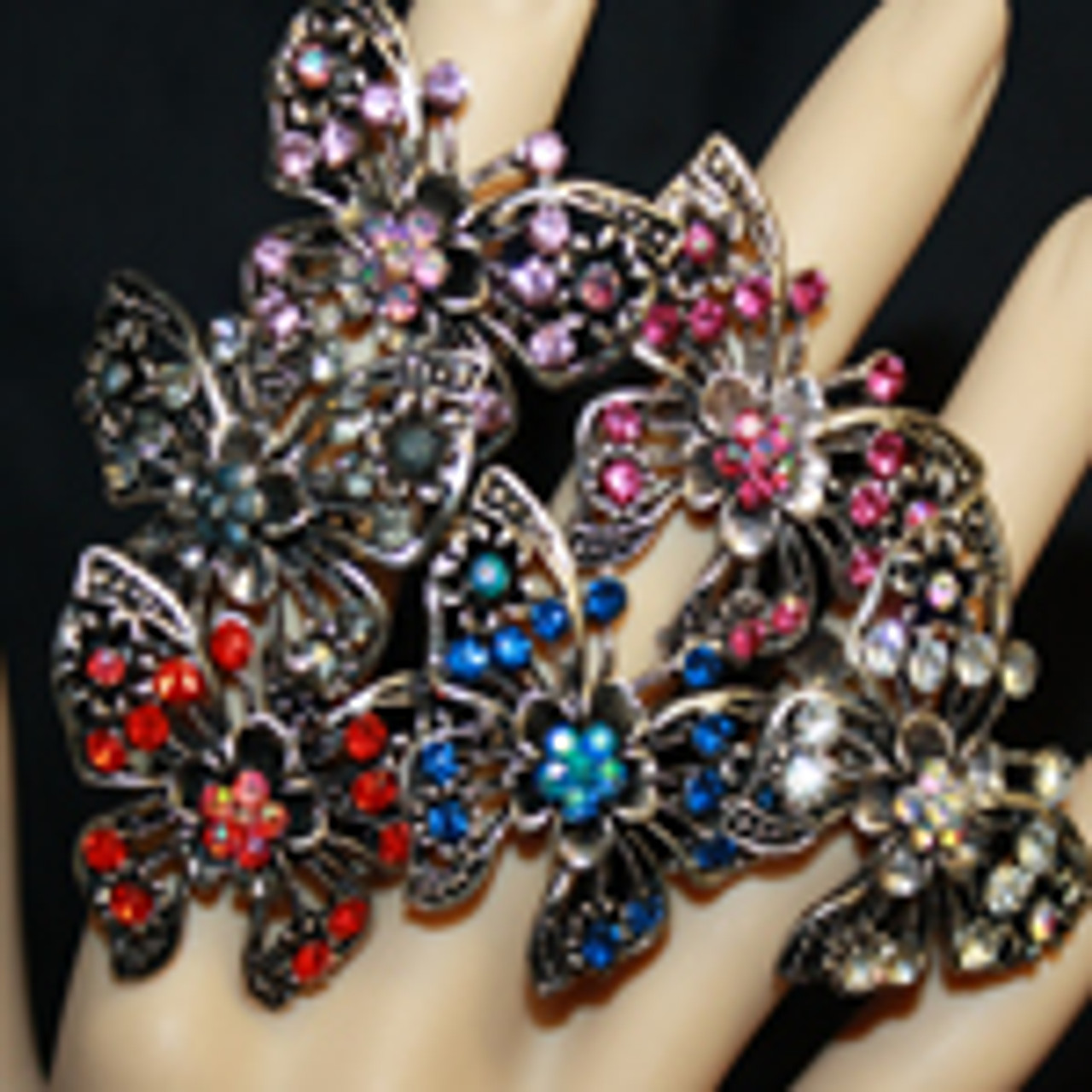Cheap butterfly with flower rings
