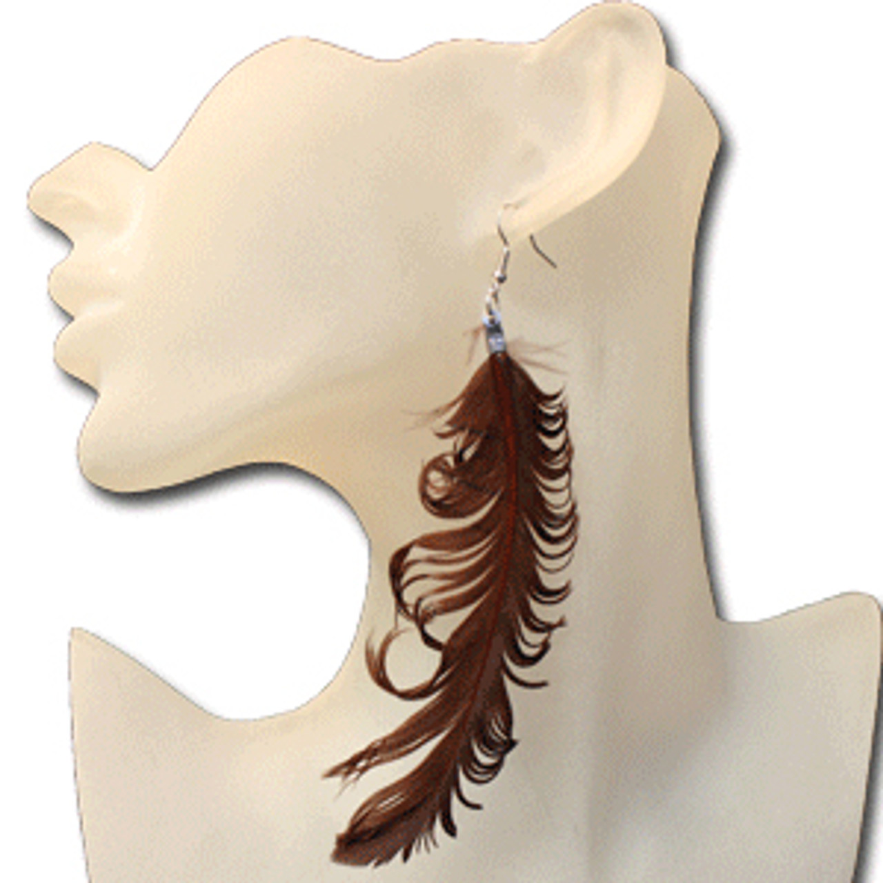 Chocolate feather earrings