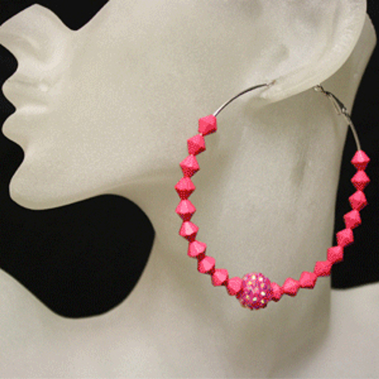 Pink diamond bead earring