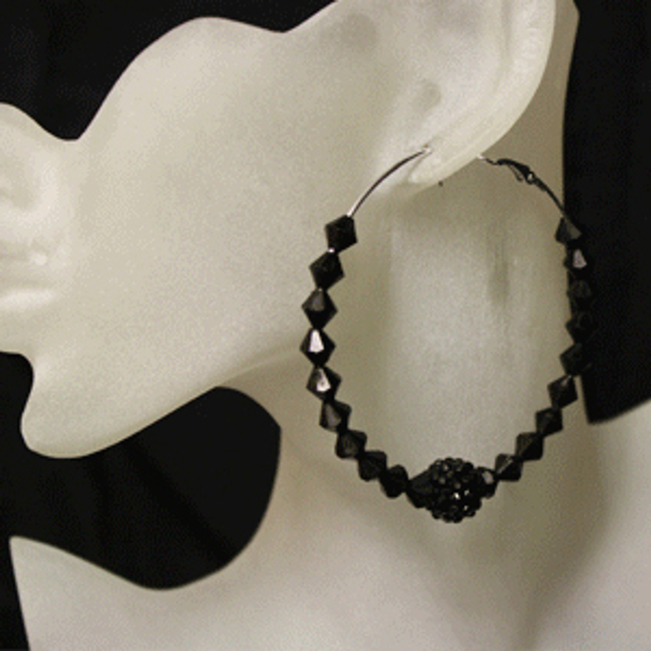 Black diamond bead earring