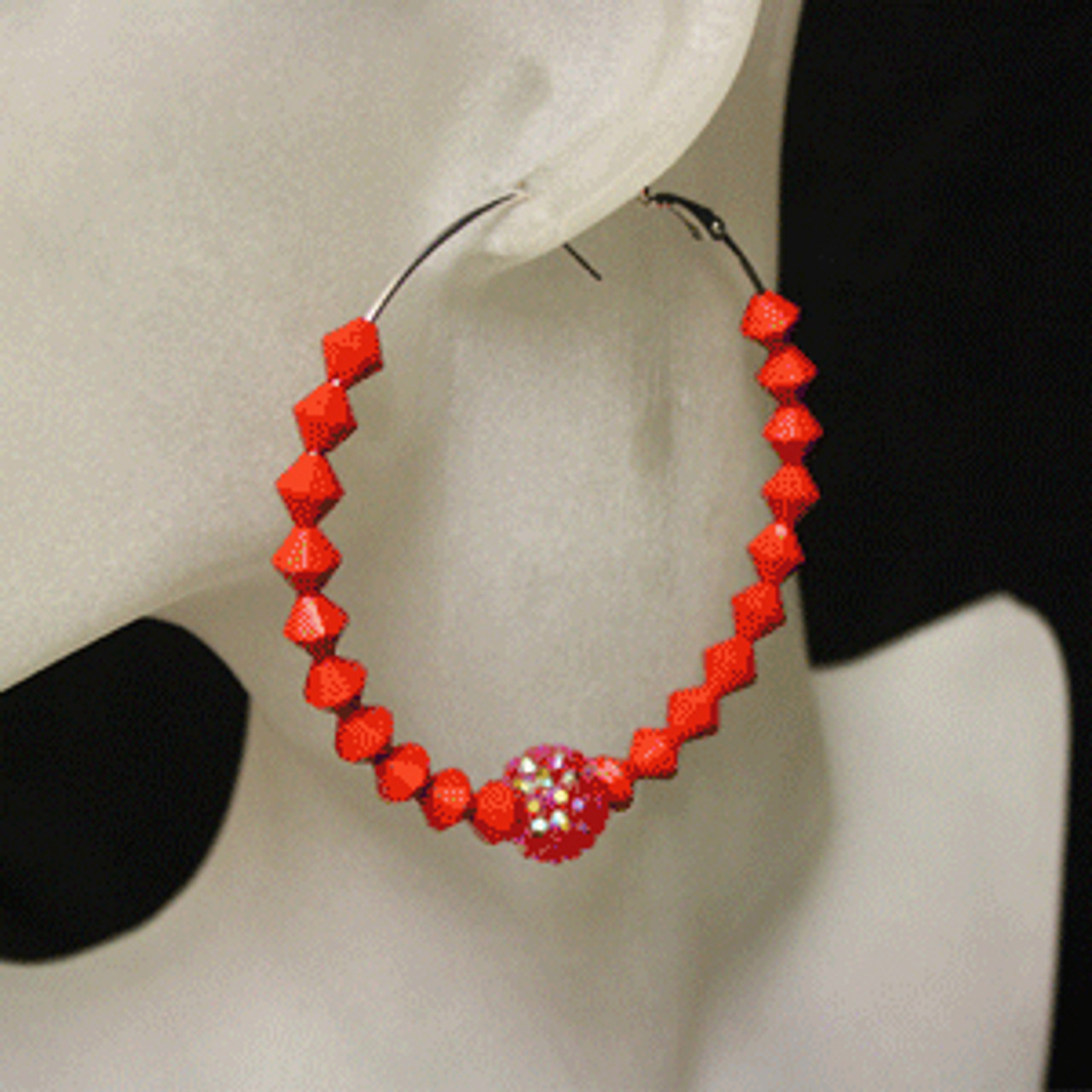 Red diamond bead earring