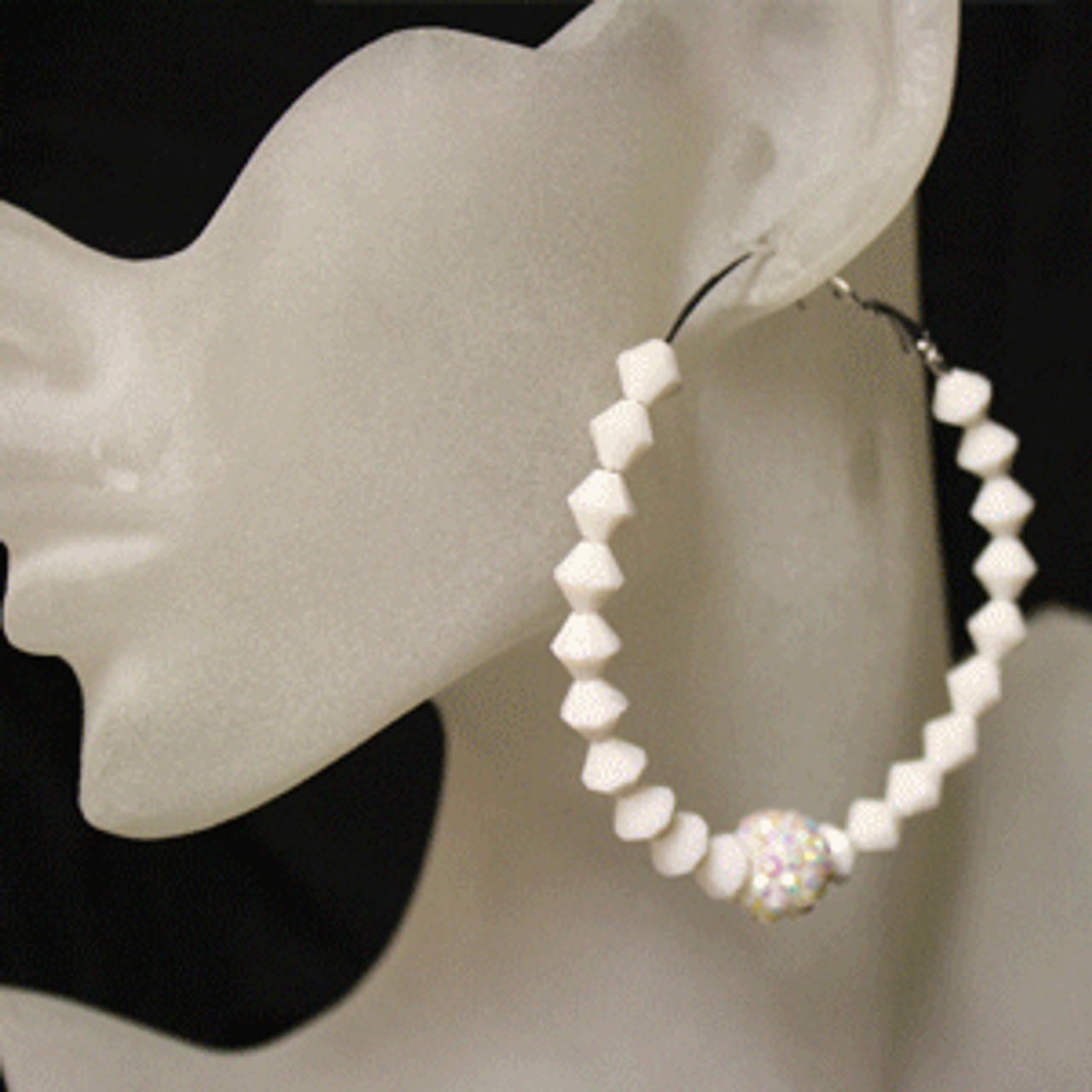 White diamond bead earring
