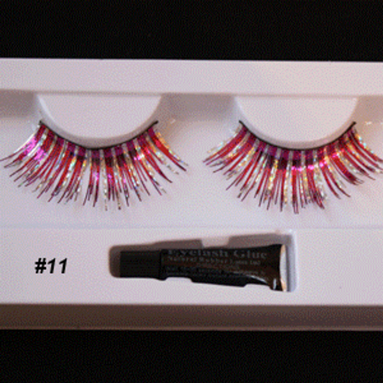 #11 Red/silver tinsel eyelashes