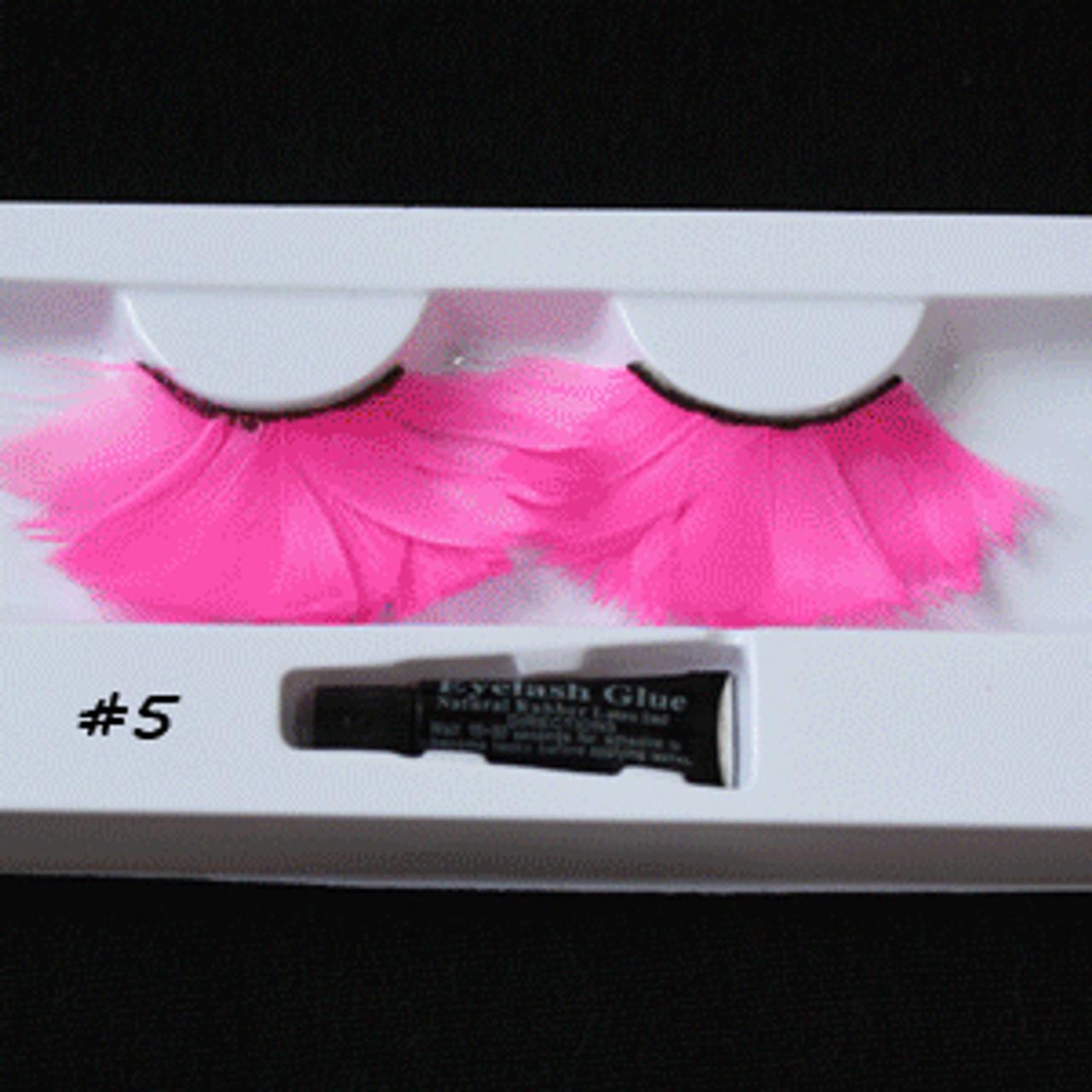 #5 Hot pink feather eyelashes