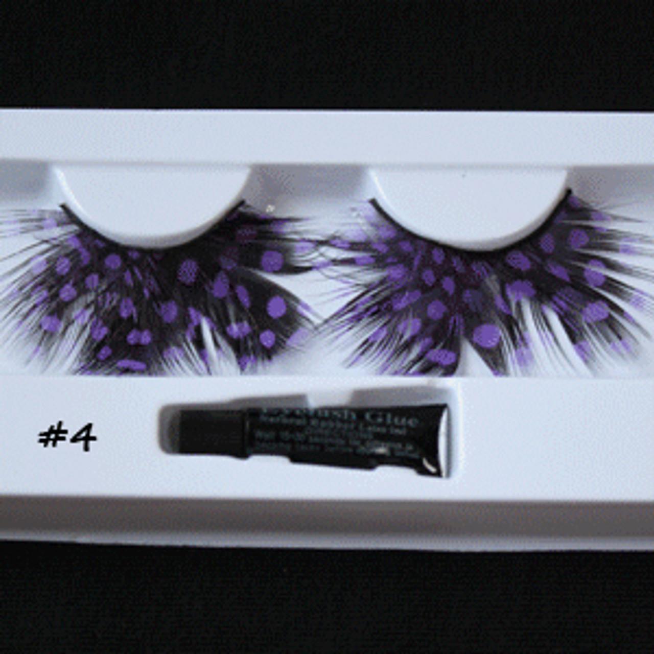 #4 Purple dots feather eyelashes