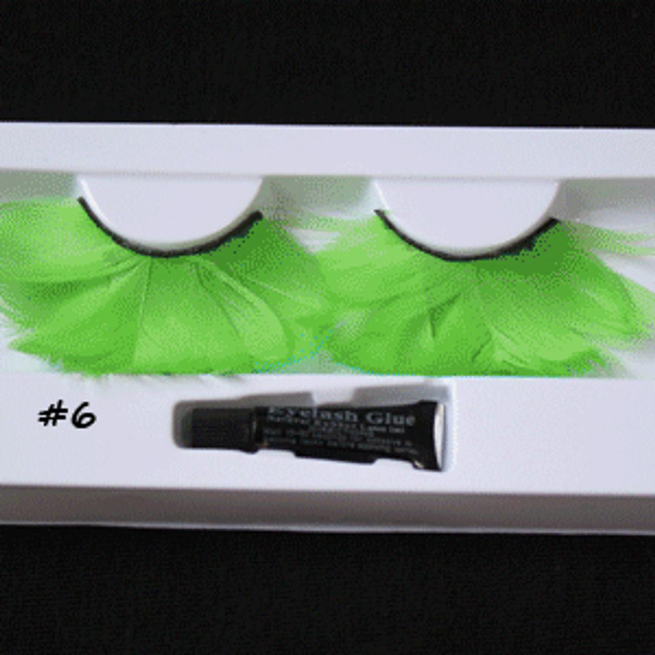 #6 Green feather eyelashes