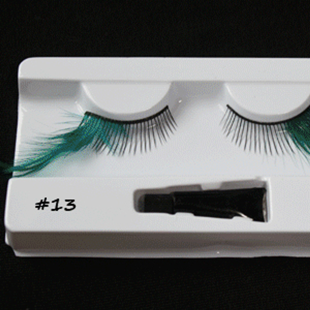#13 Turquoise feather eyelashes
