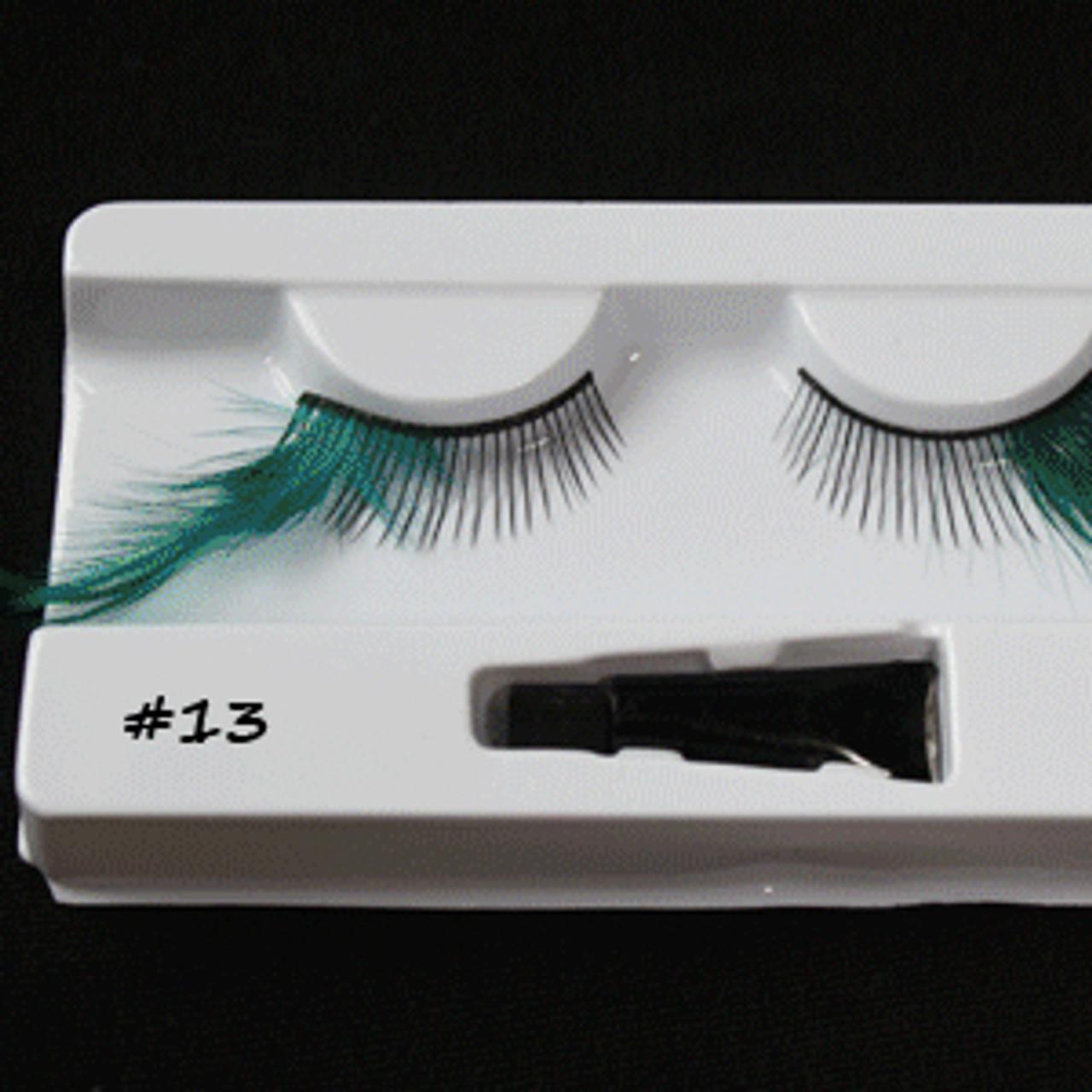 #13 Turquoise feather eyelashes