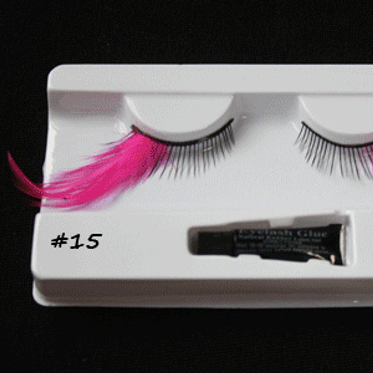 #15 Hot pink long feather eyelashes