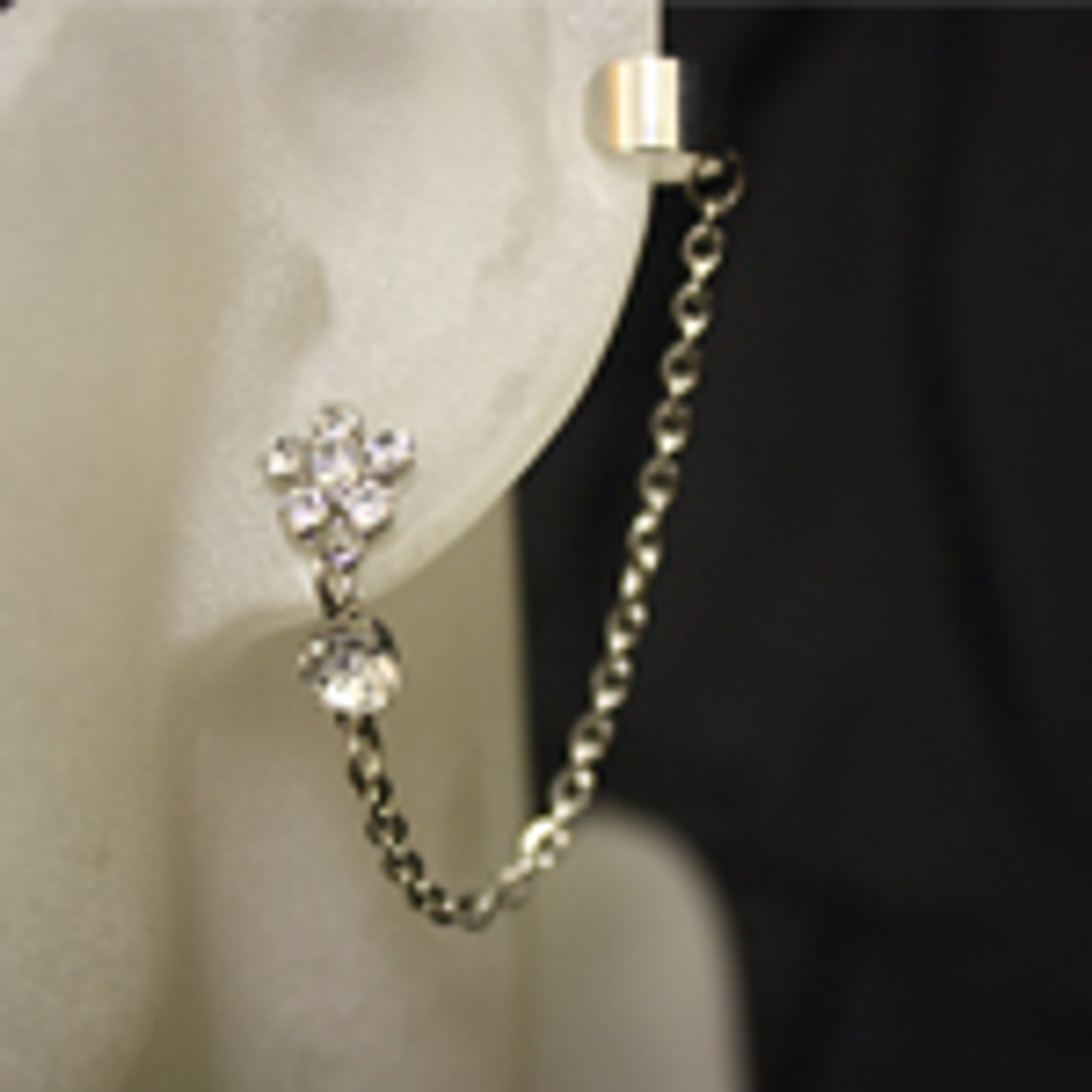 Flower diamond ear cuff set