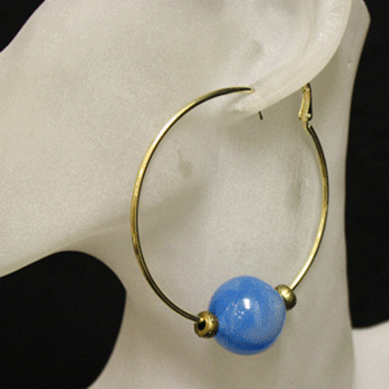 Blue/gold glass bead hoop earrings