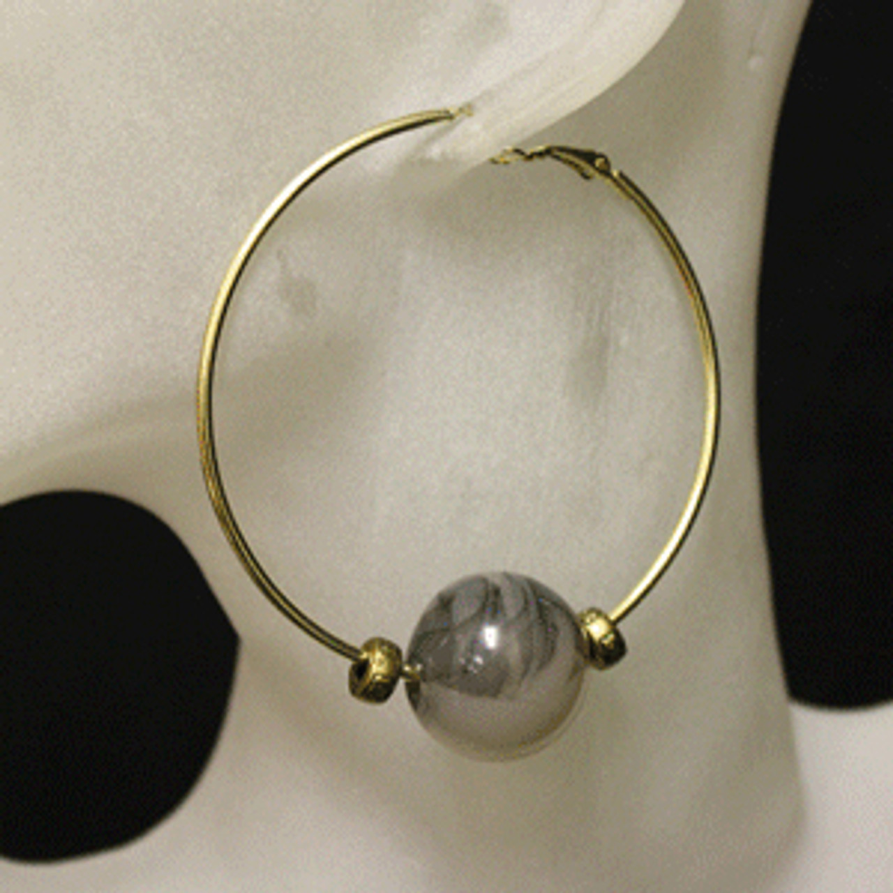 Black/gold glass bead hoop earrings