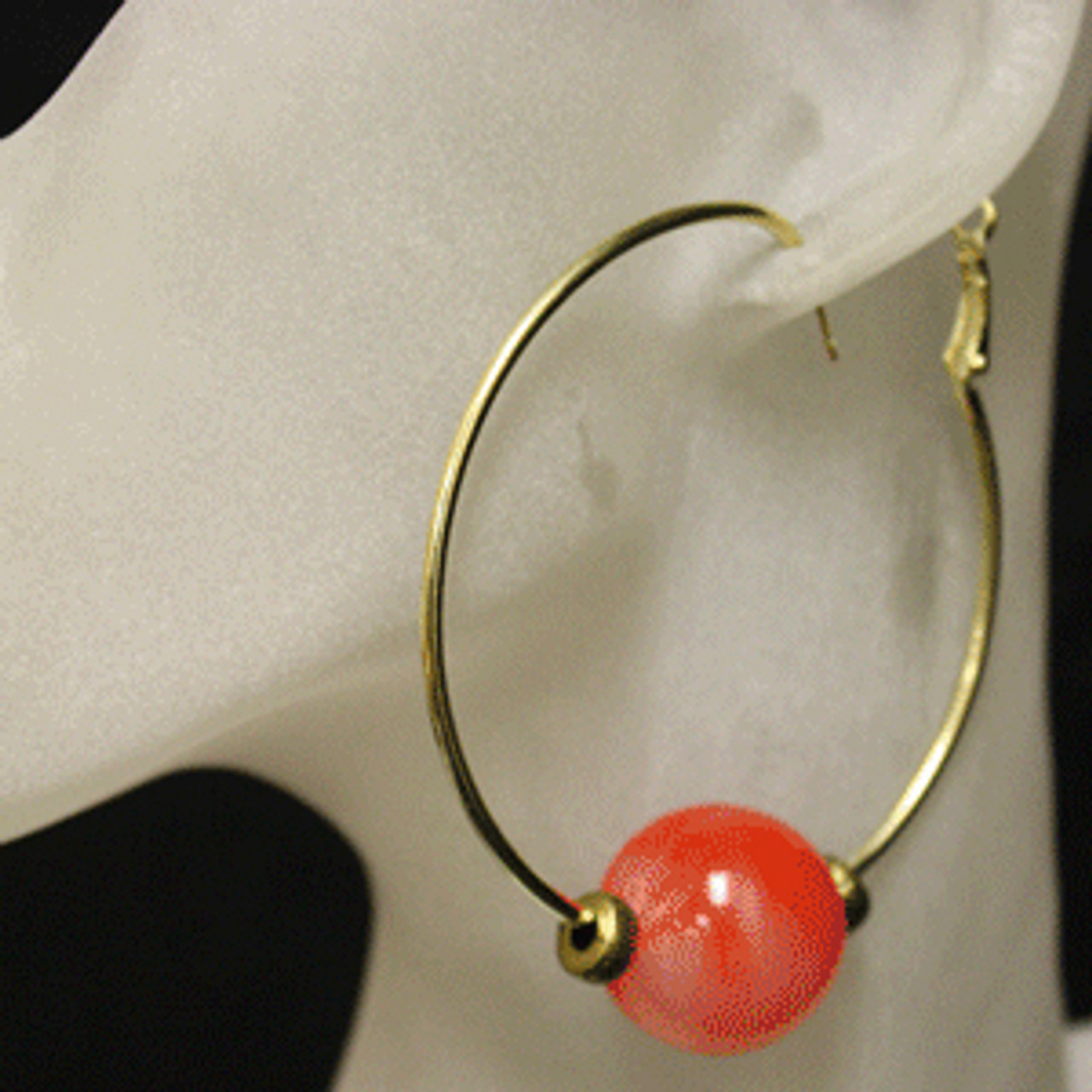 Red/gold glass bead hoop earrings