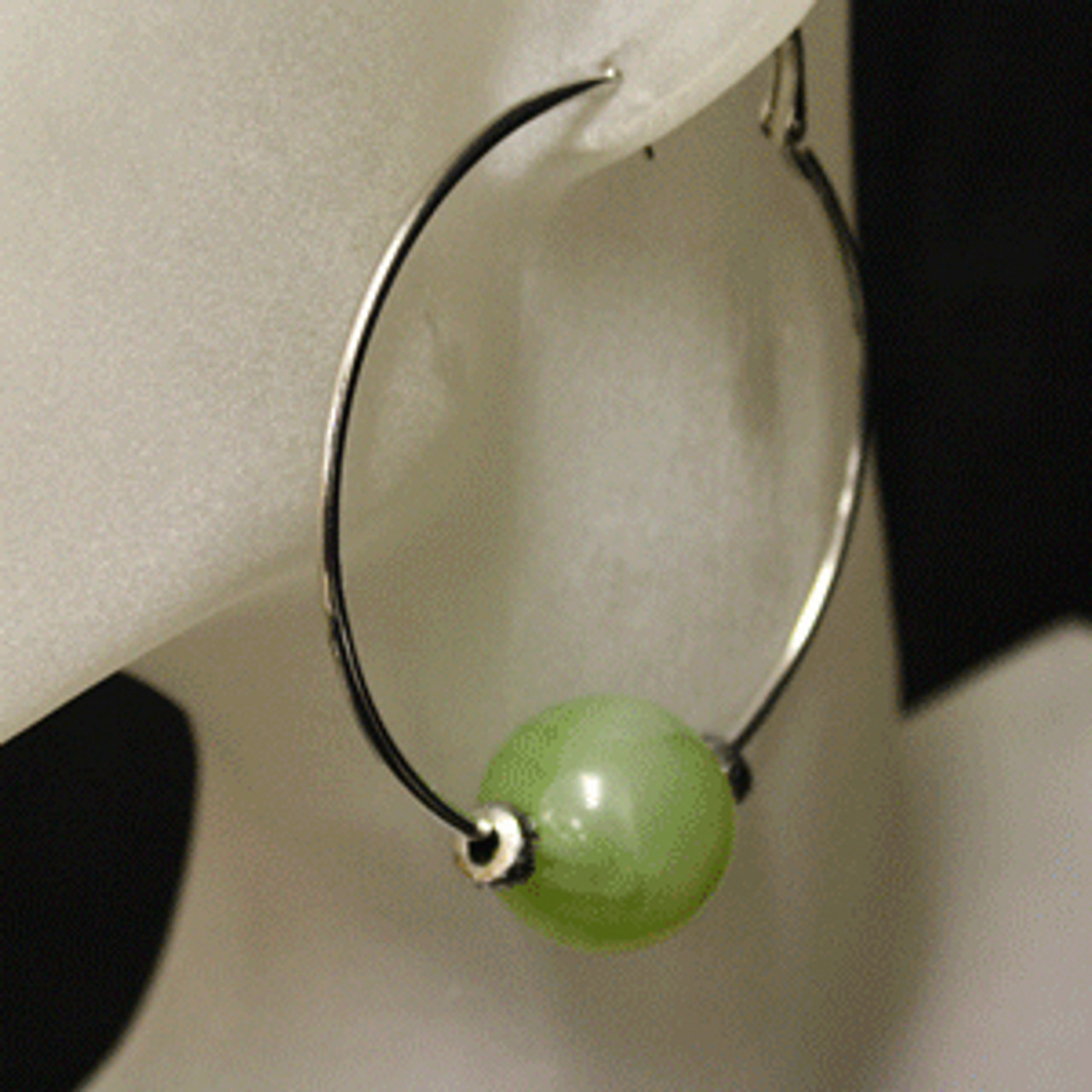 Green/silver glass bead hoop earrings