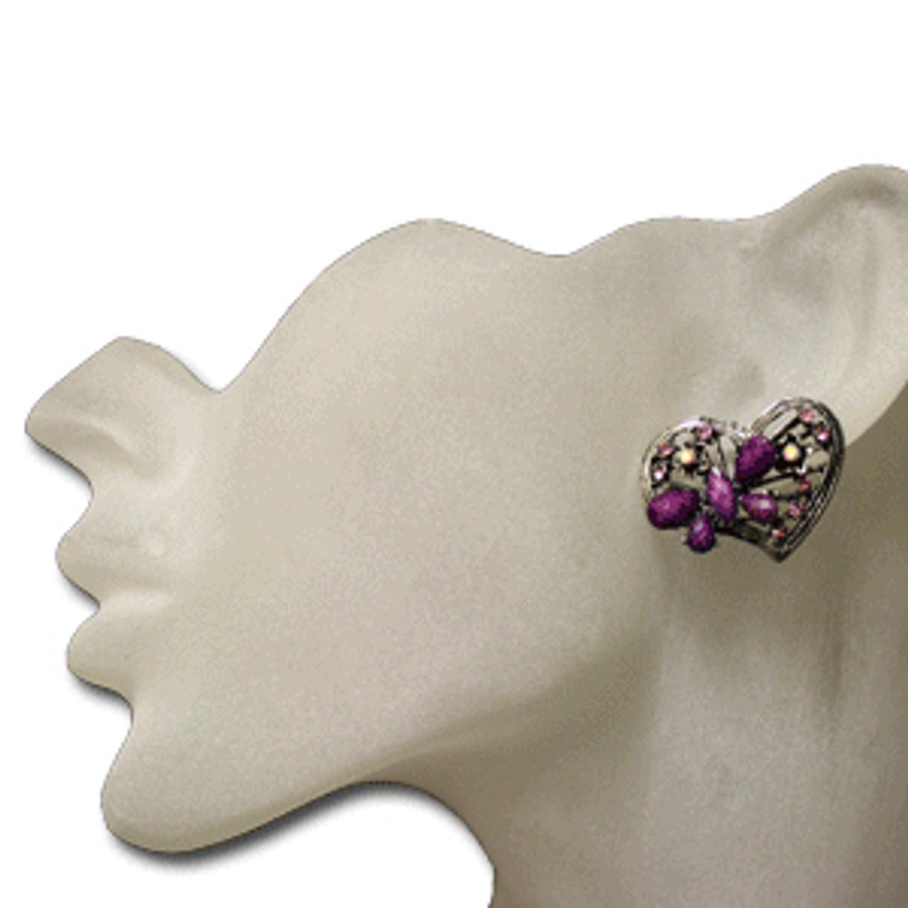 Purple heart butterfly stud earrings