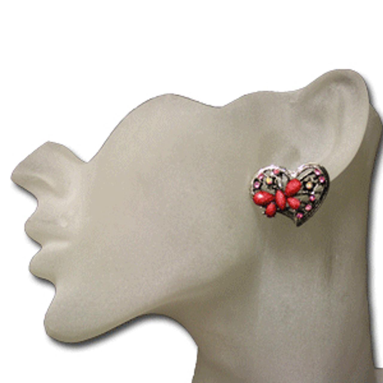 Hot pink heart butterfly stud earrings