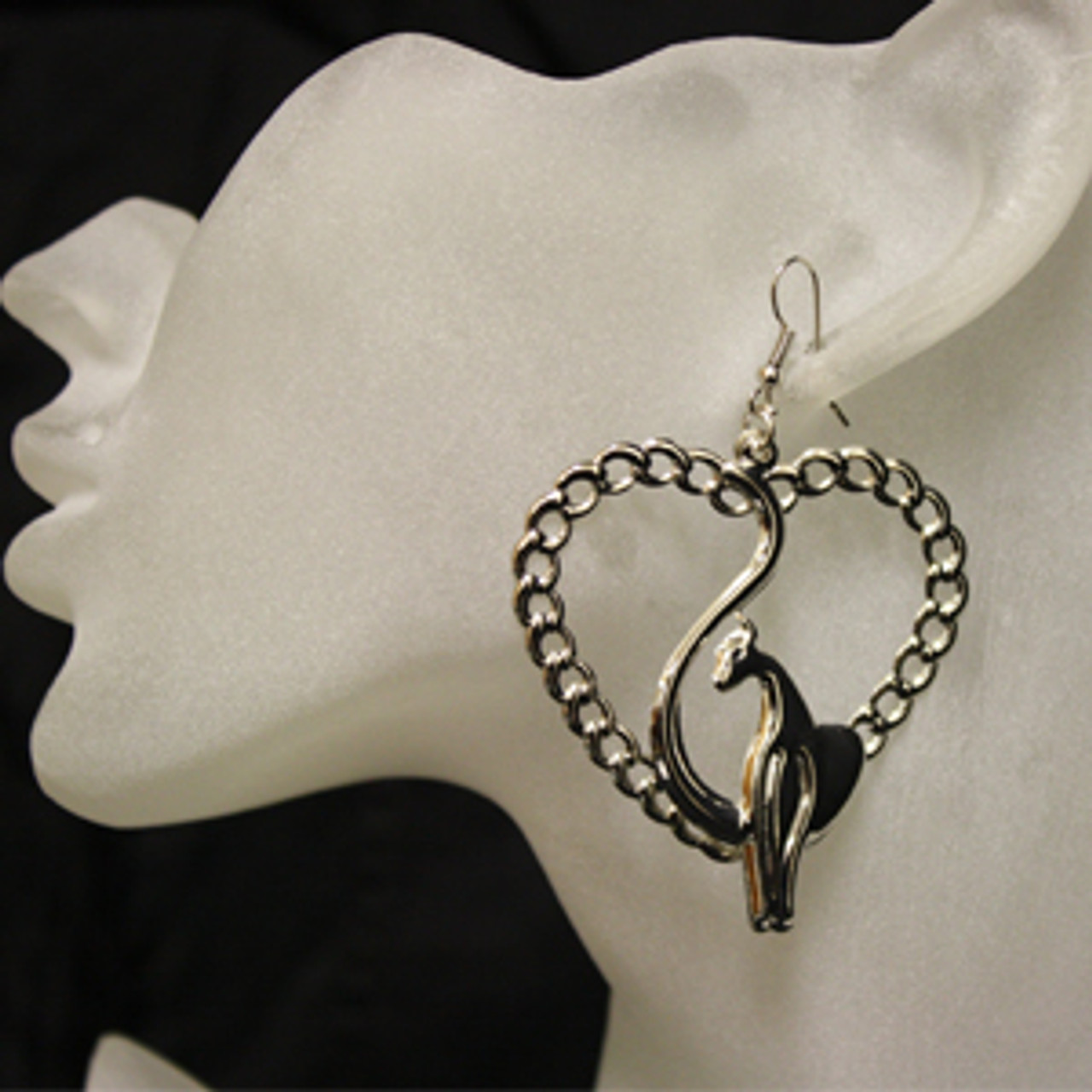 Heart cat earrings