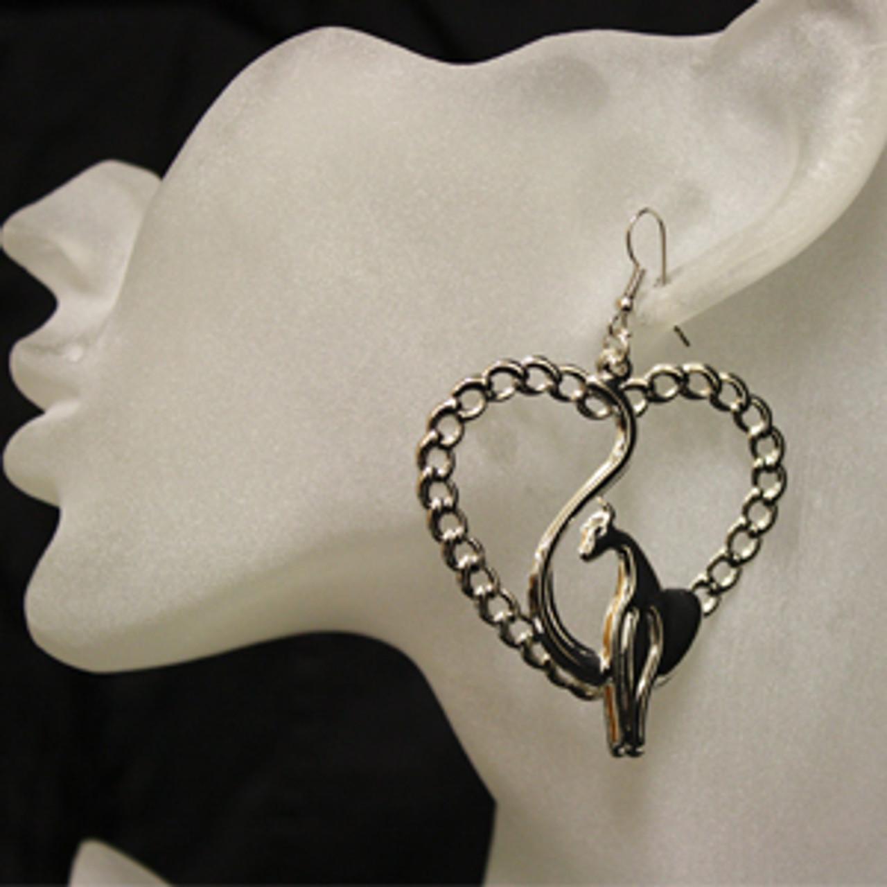 Heart cat earrings