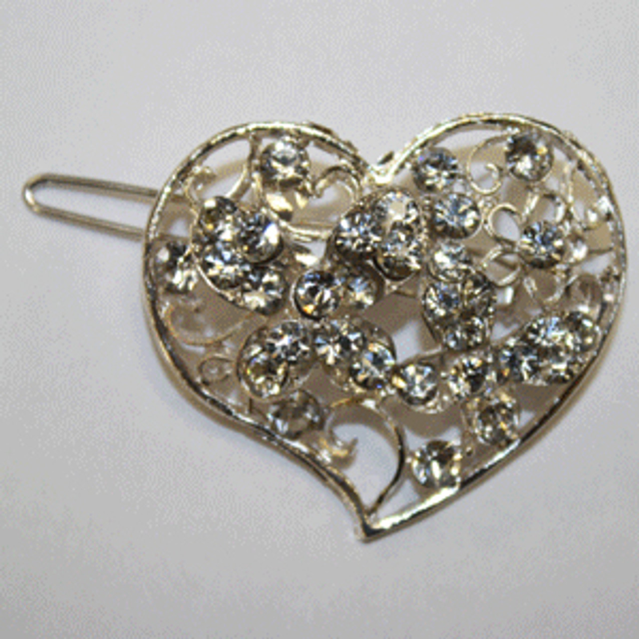 Clear heart barrette