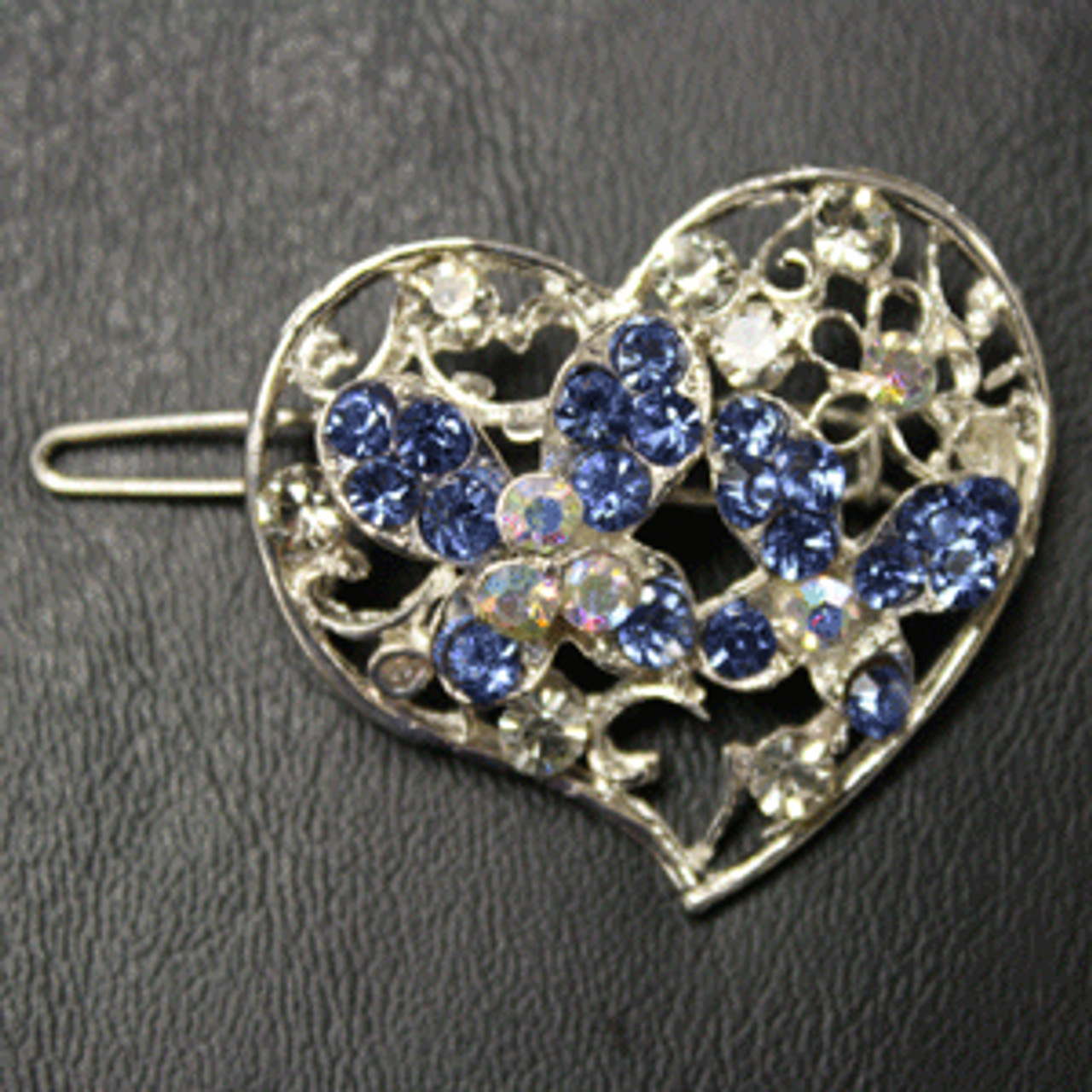 Blue heart barrette
