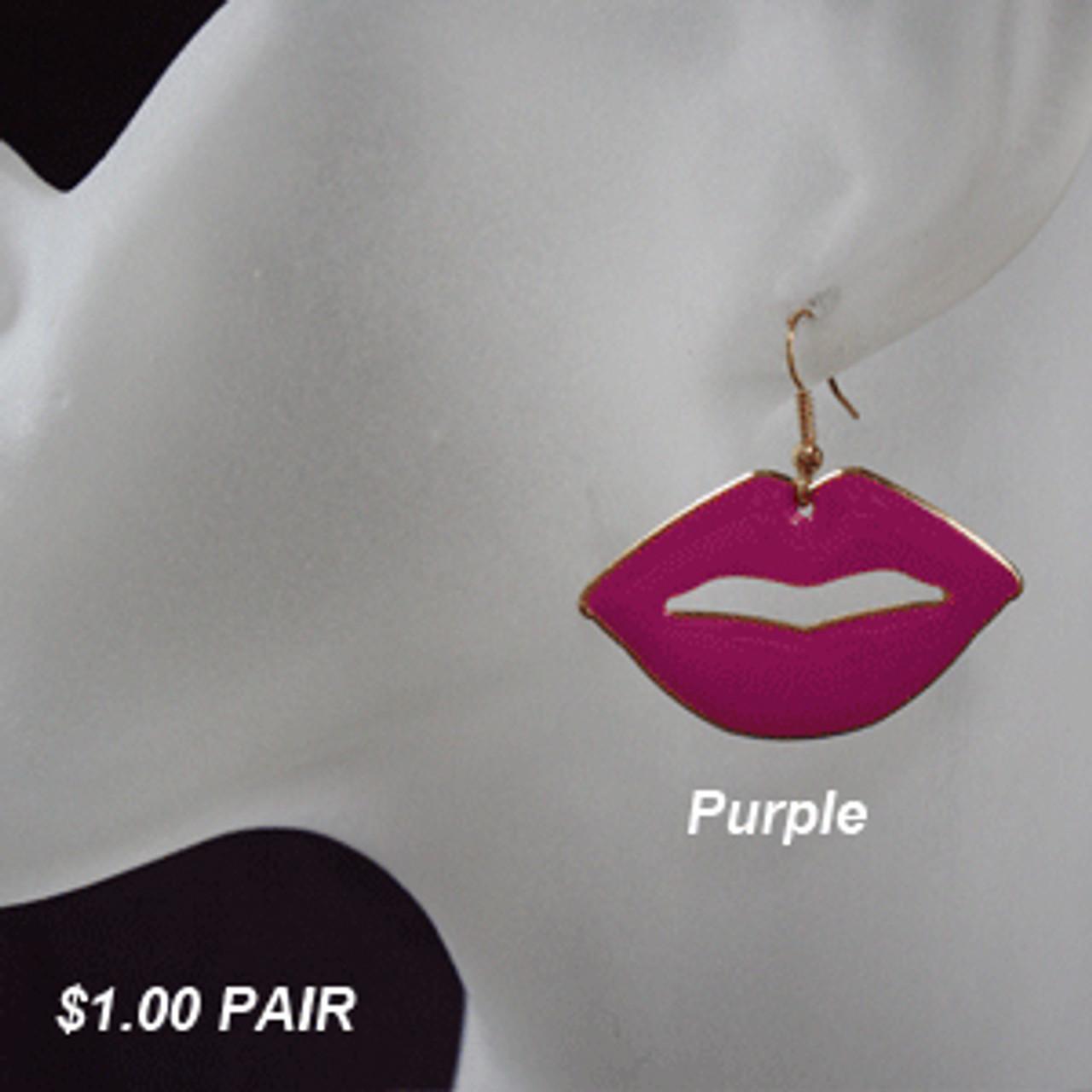 Purple lip earrings