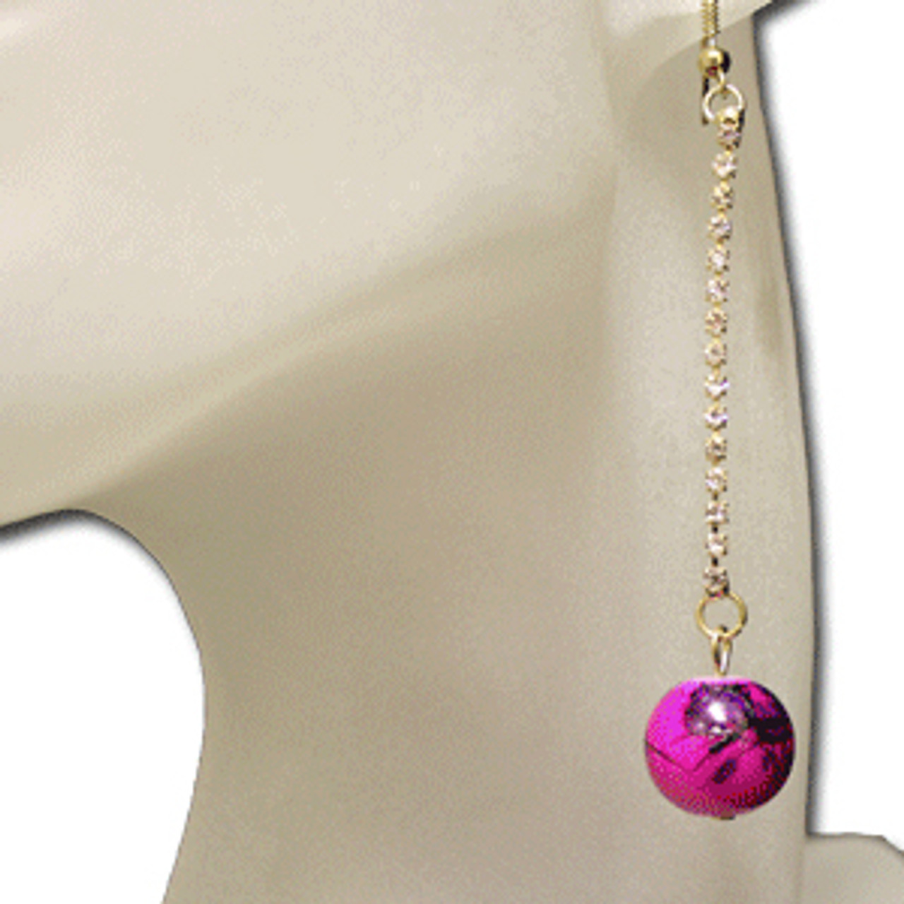 Hot pink marble earrings