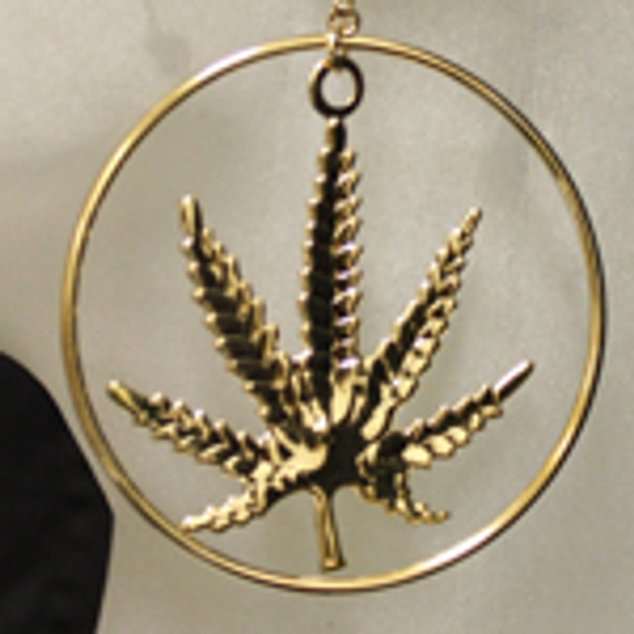 Gold marijuana leaf earrings