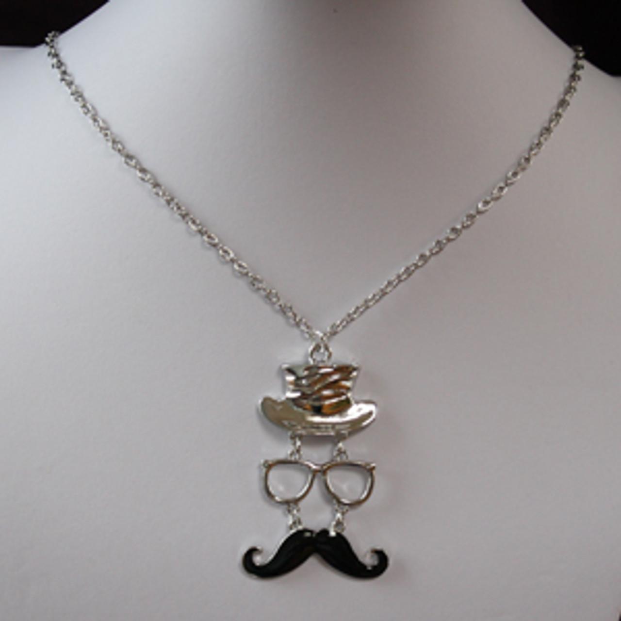 Wholesale mustache top hat necklace