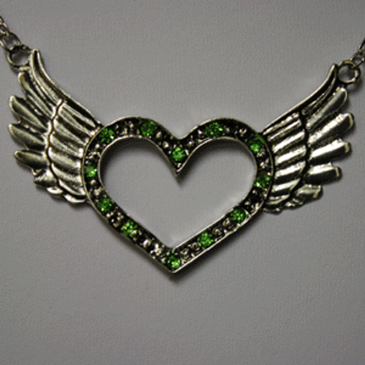 Green open heart wing necklace