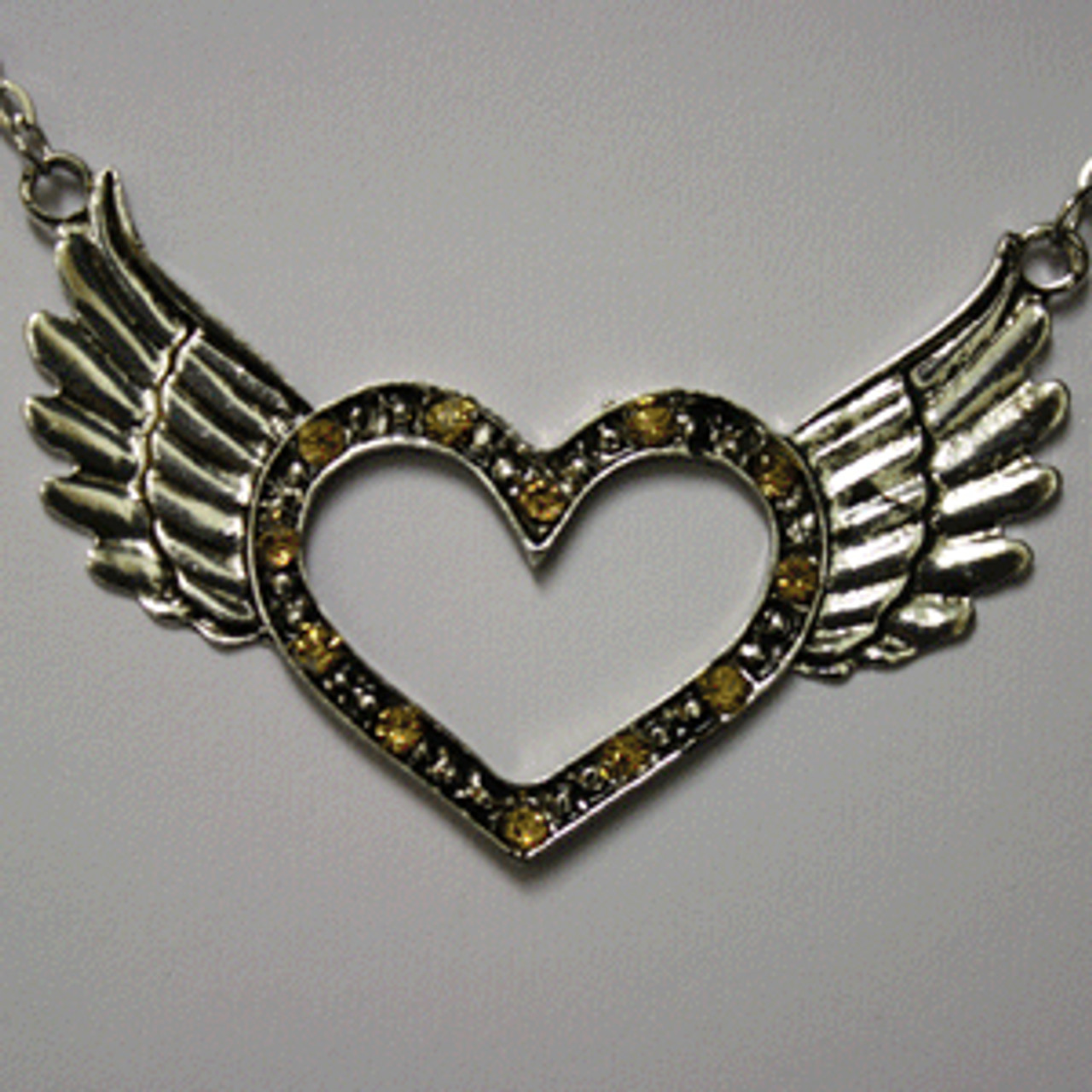 Yellow open heart wing necklace