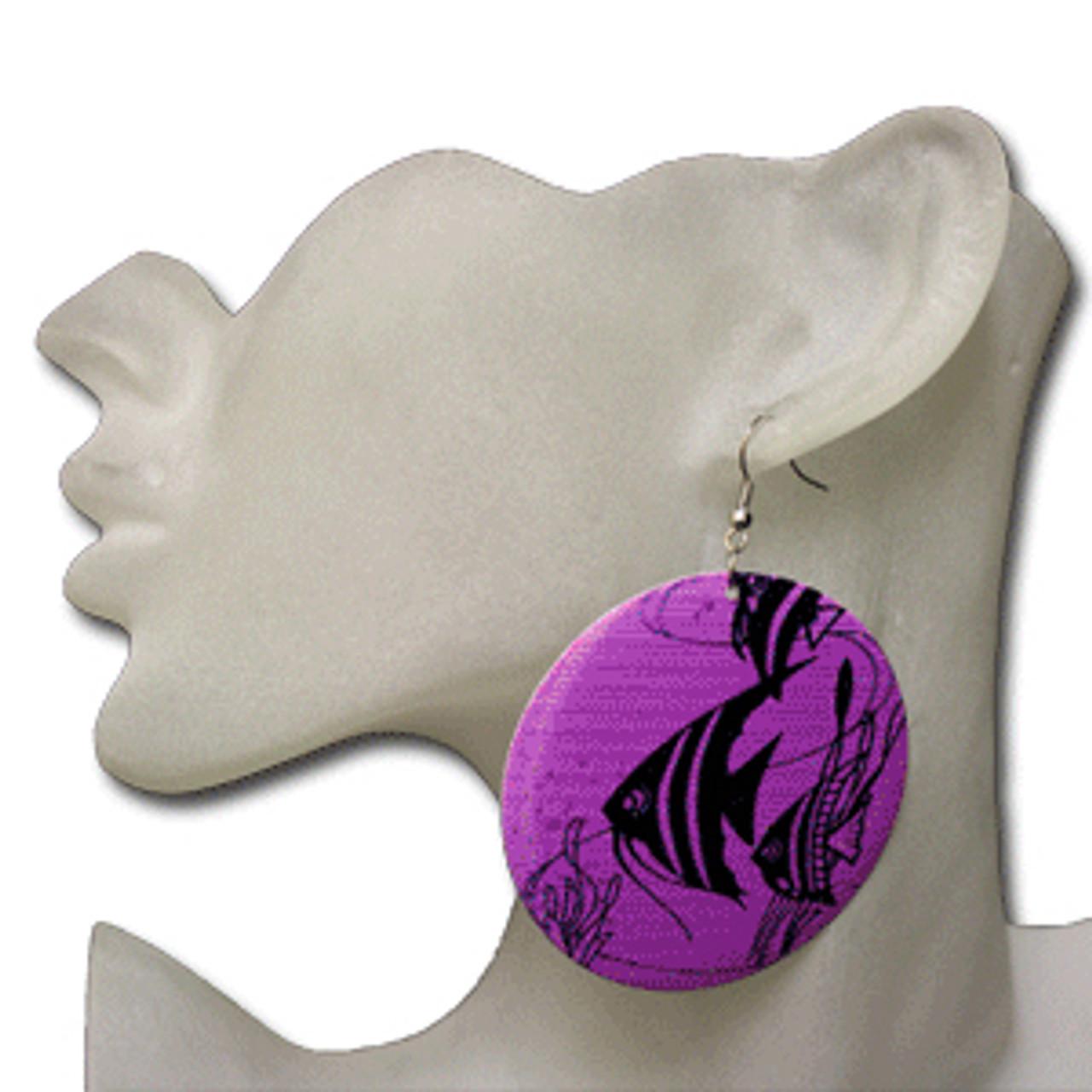 Purple fish earrings