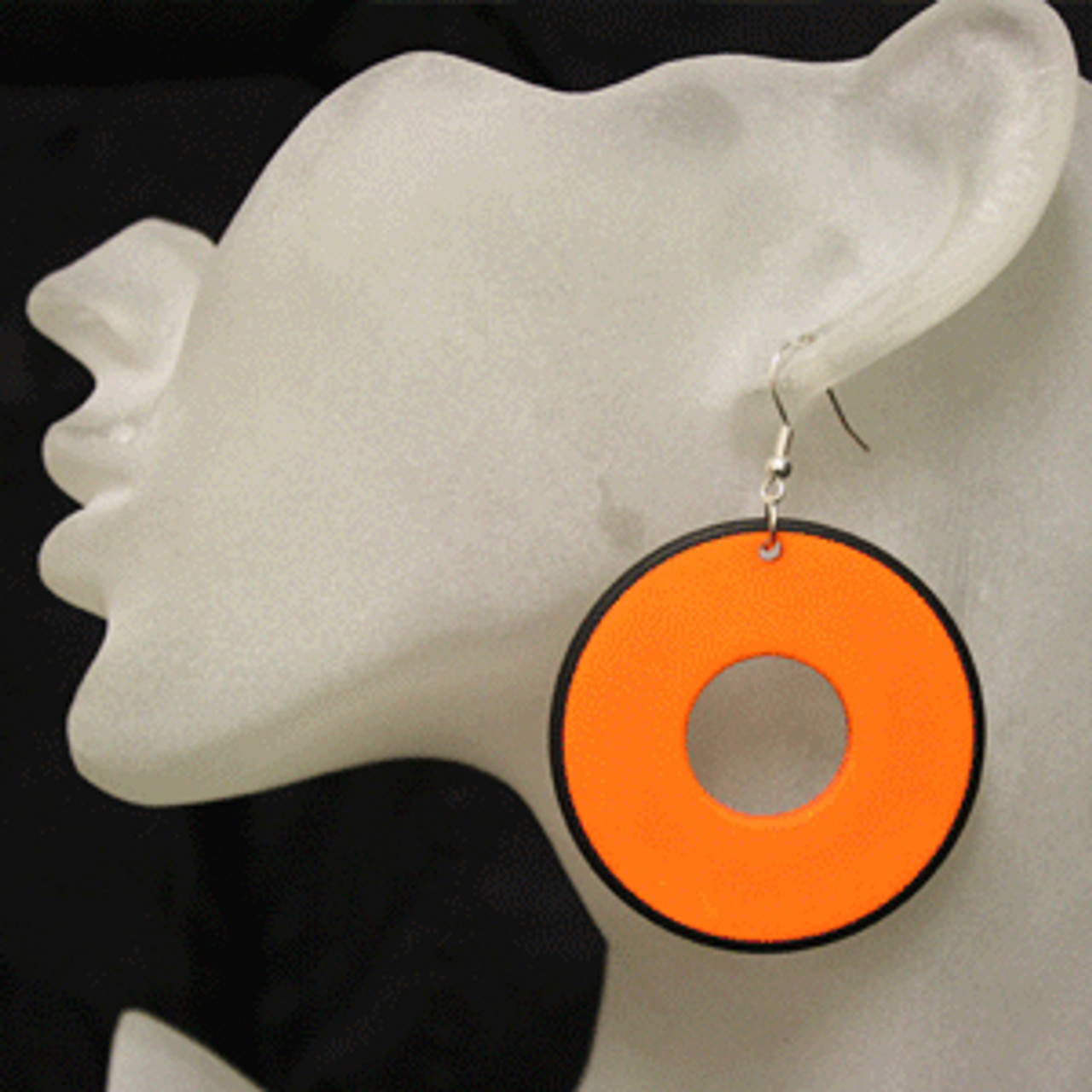 Orange retro disc earrings