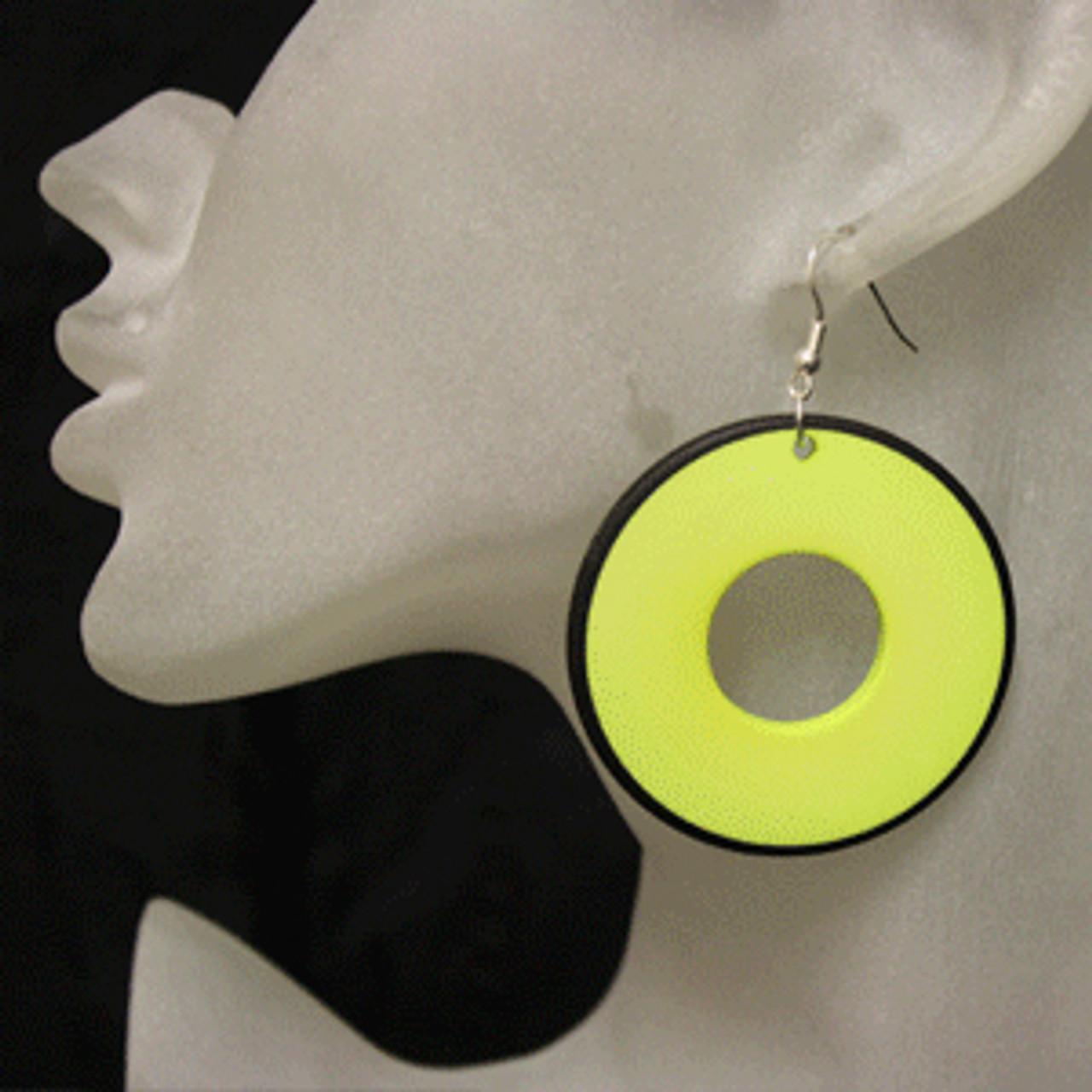 Lime retro disc earrings
