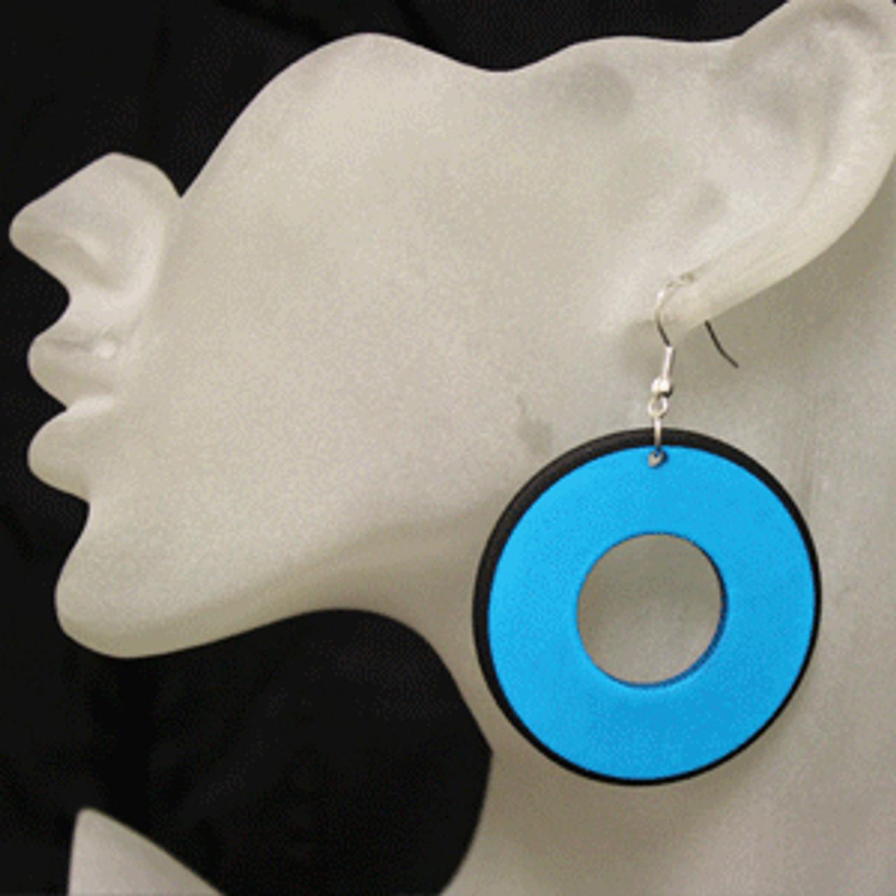Teal retro disc earrings