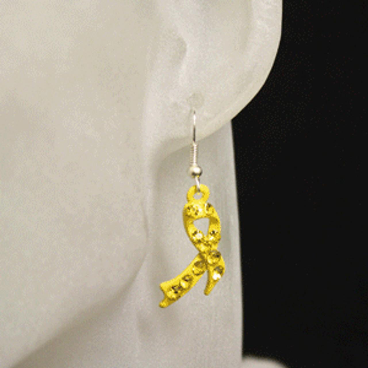 Yellow charity or awareness ribbon earrings