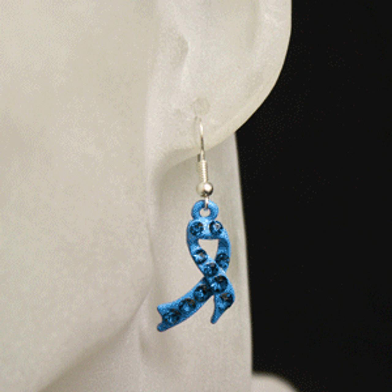 Blue charity or awareness ribbon earrings
