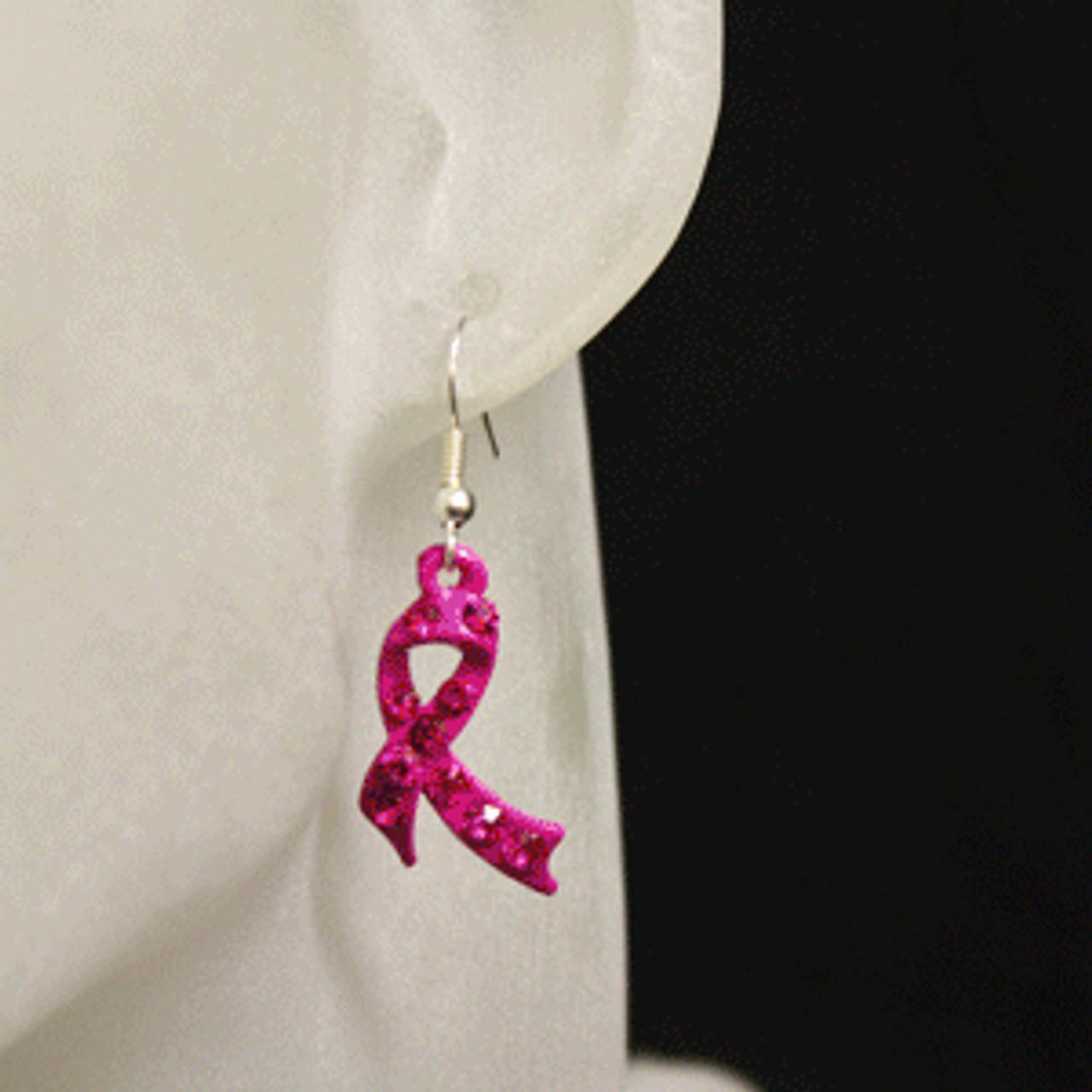 Pink charity or awareness ribbon earrings