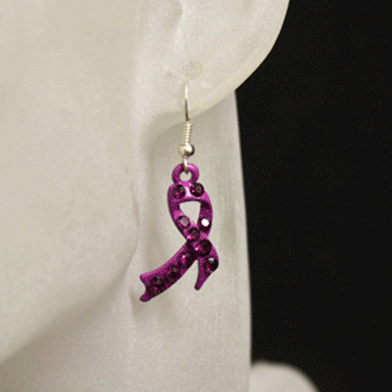 Purple charity or awareness ribbon earrings