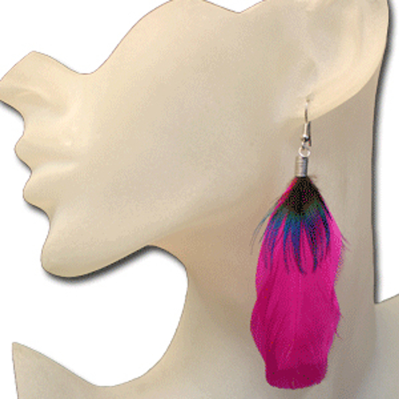 Hot pink feather earrings