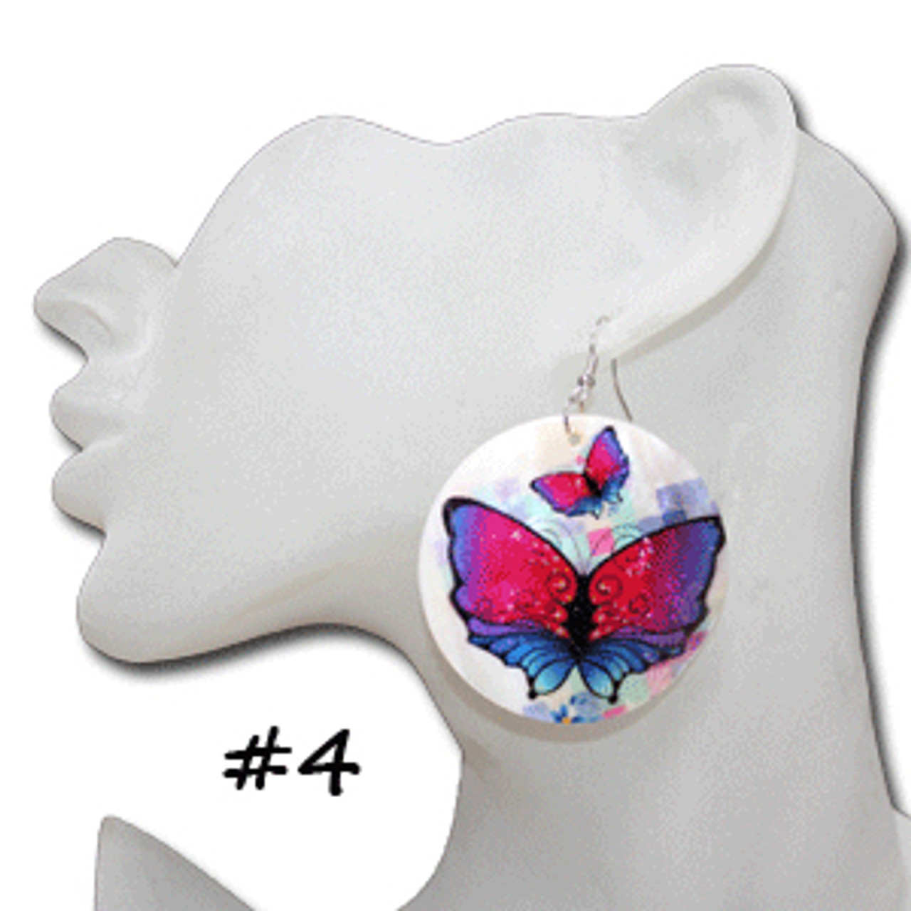 Butterflies on shell earrings