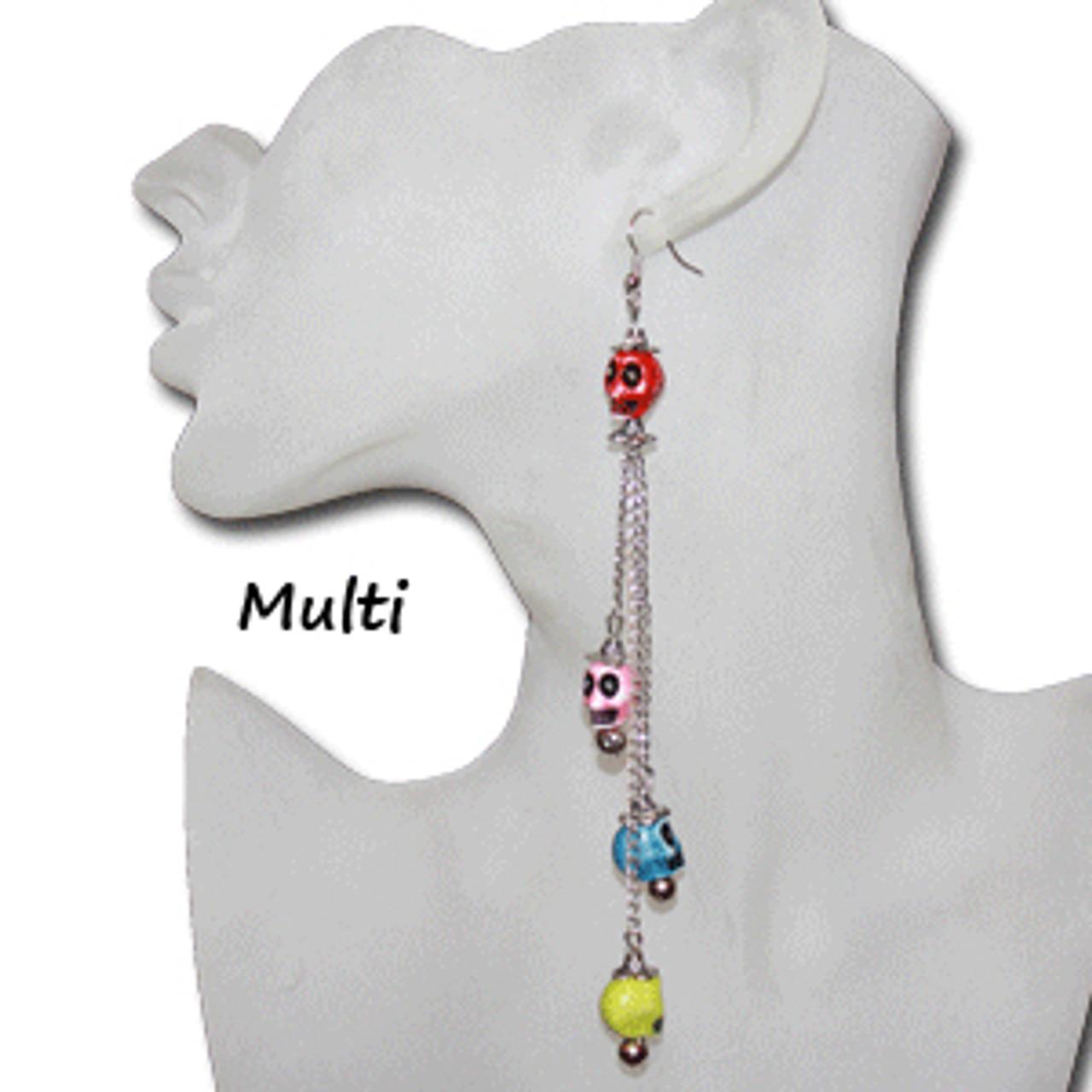 Skulls on chain earrings