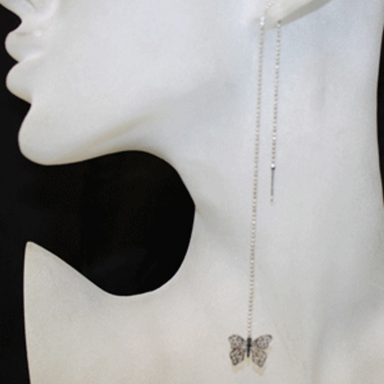 Threaded butterfly earring