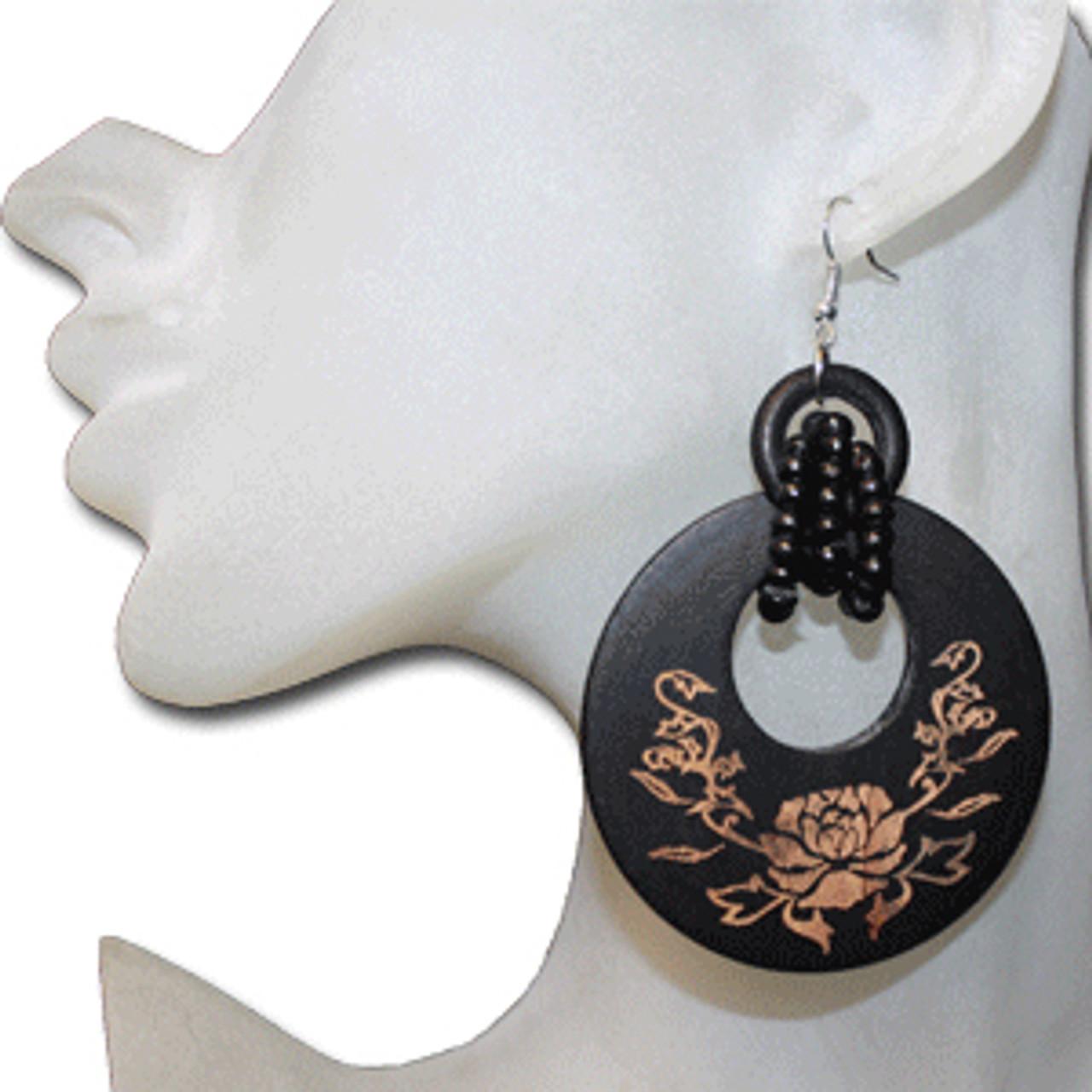 wood floral earrings