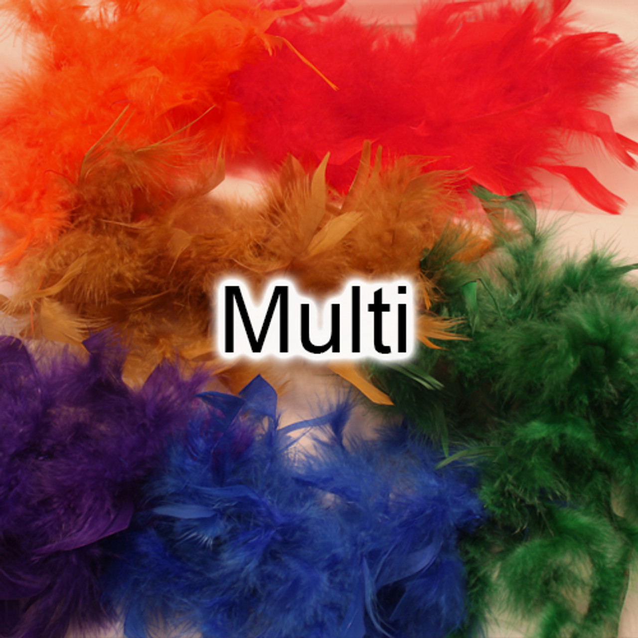 Multi color feather boas, rainbow feather boas