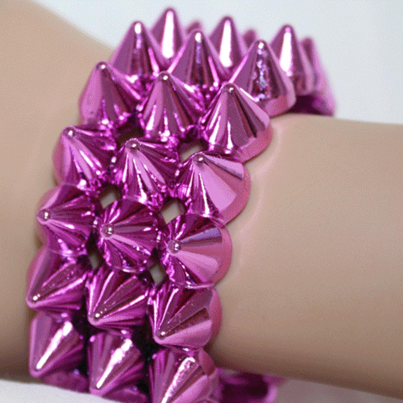 Hot pink spiked bracelets