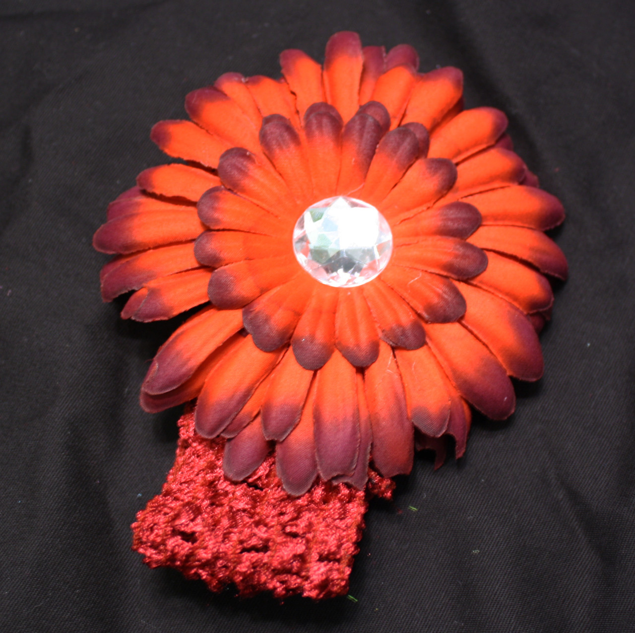 Red and burgundy Gerbera daisy flower crochet headband