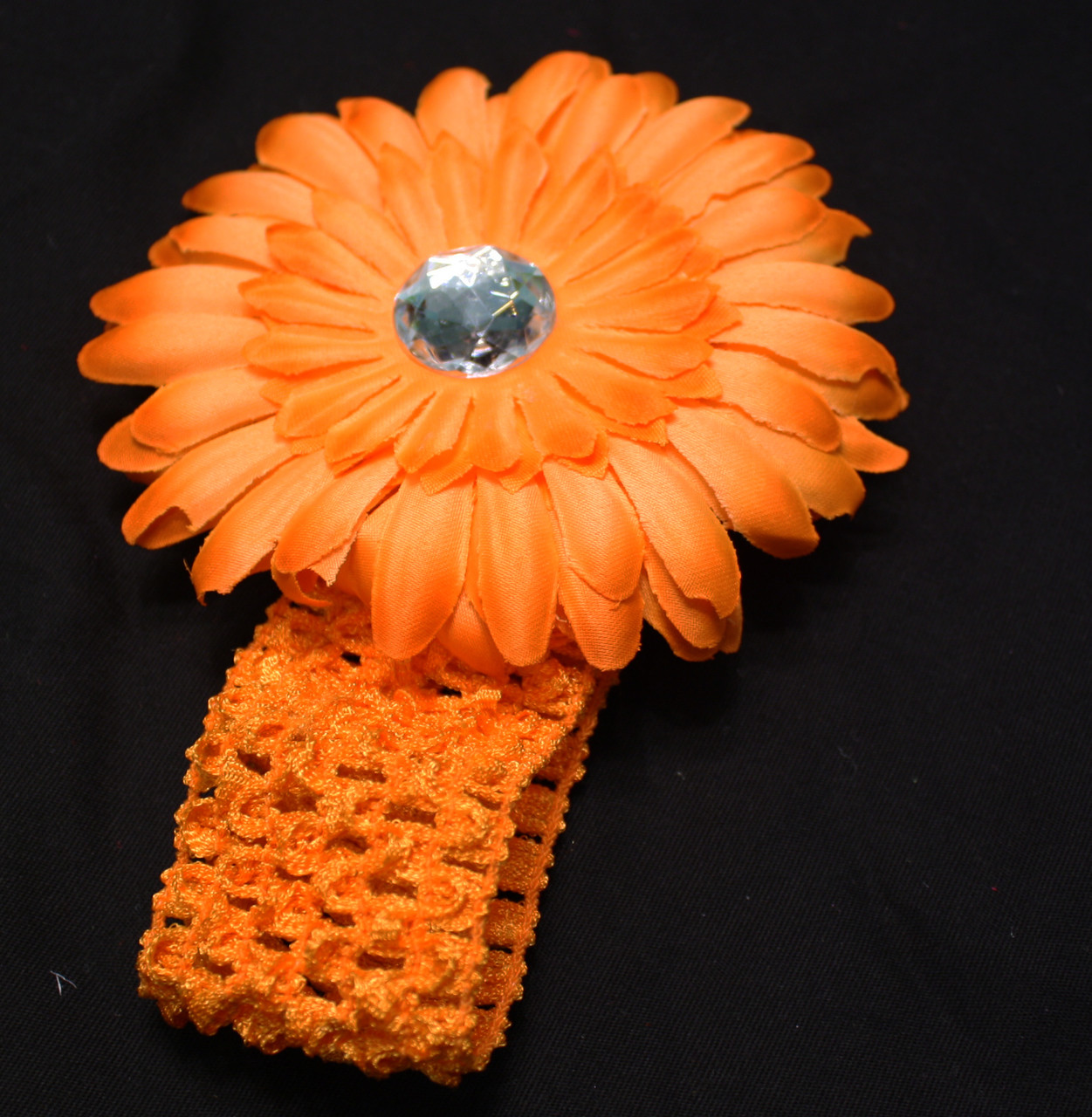 Orange Gerbera daisy flower crochet headband