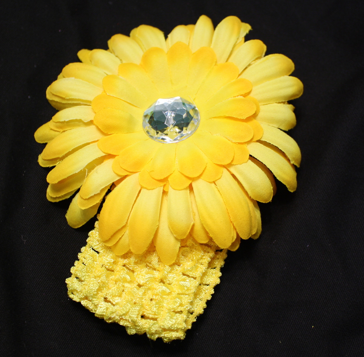 Yelllow Gerbera daisy flower crochet headband