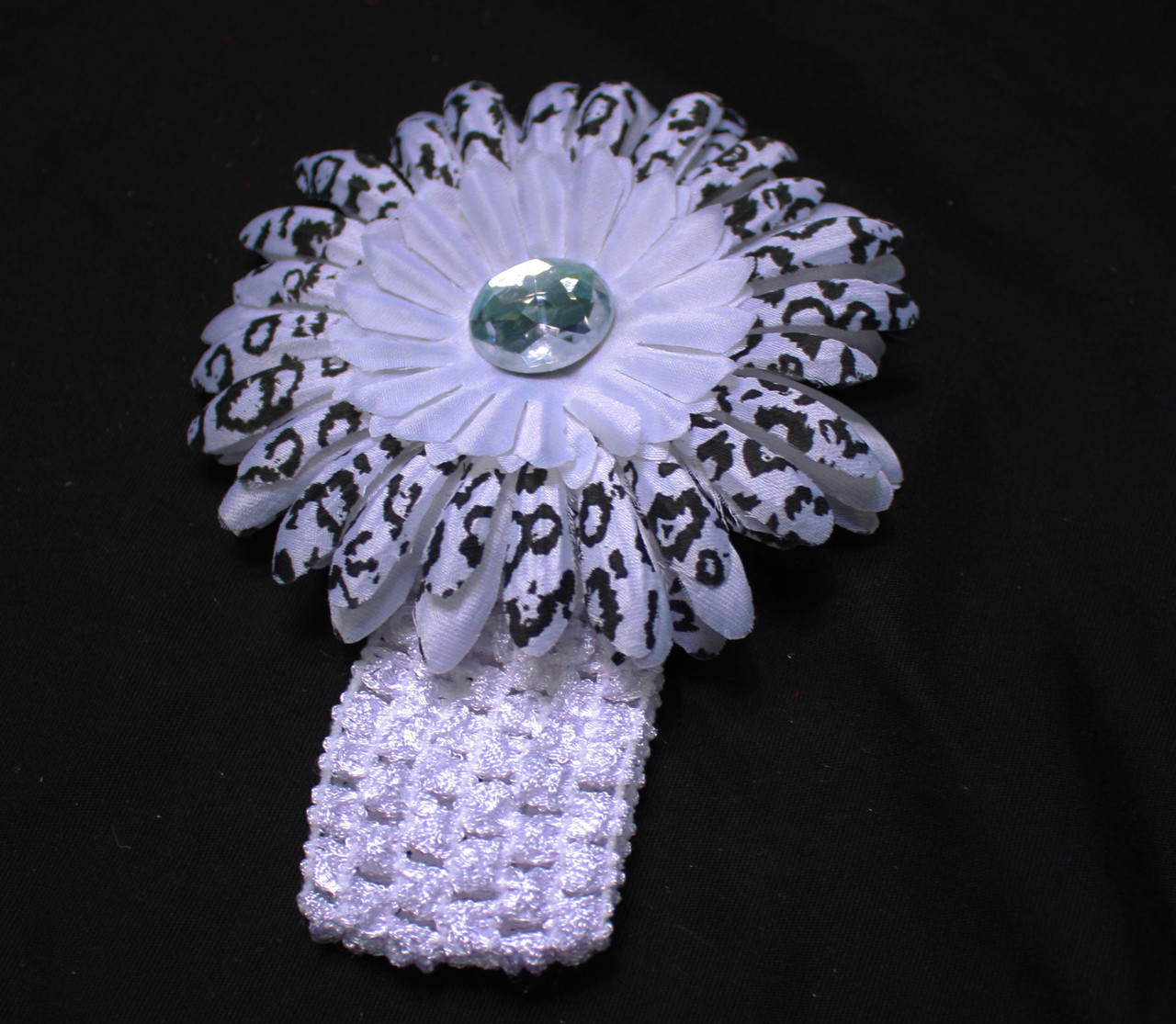 White cheetahGerbera daisy flower crochet headband