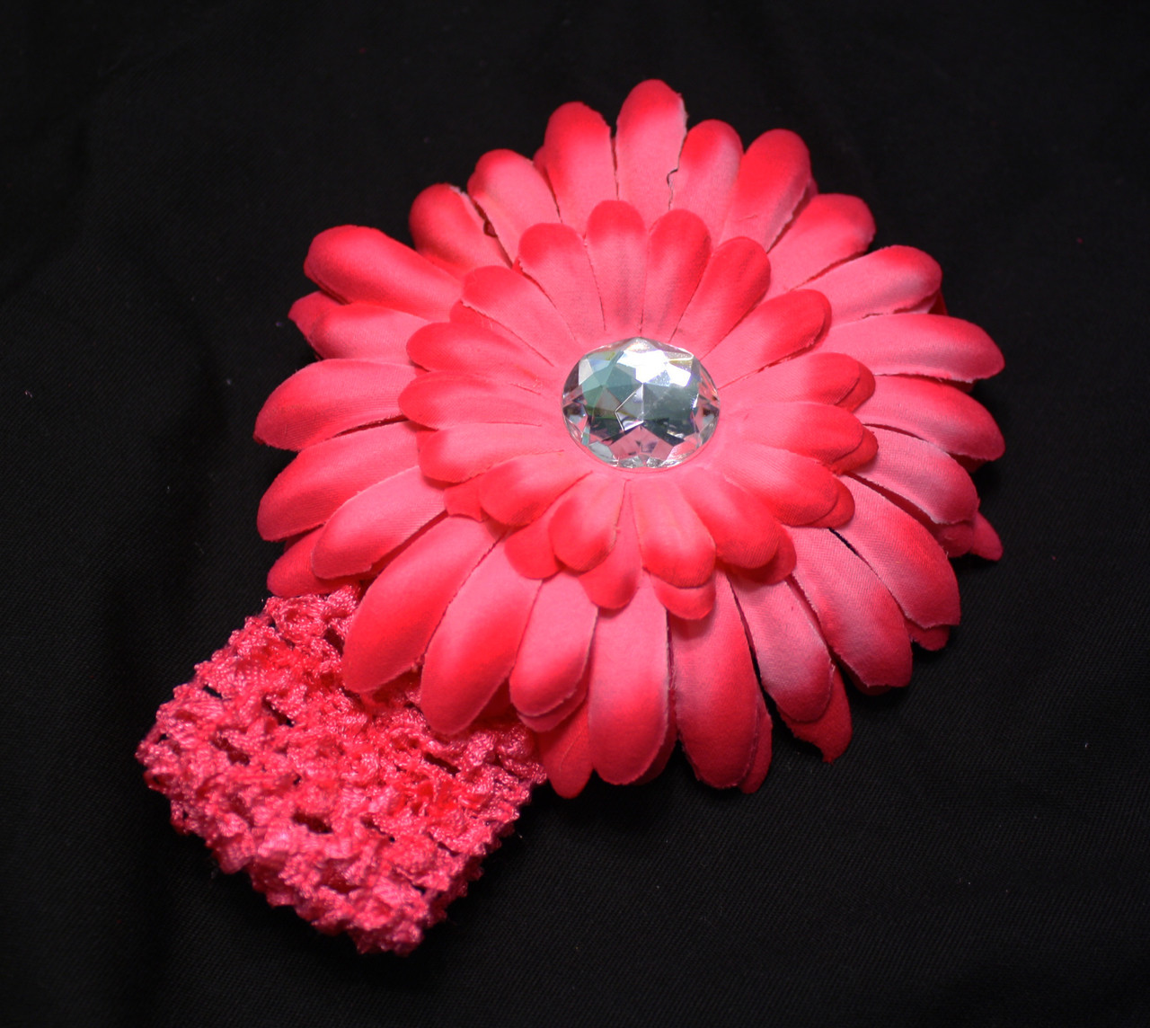 Hot Pink Gerbera daisy flower crochet headband